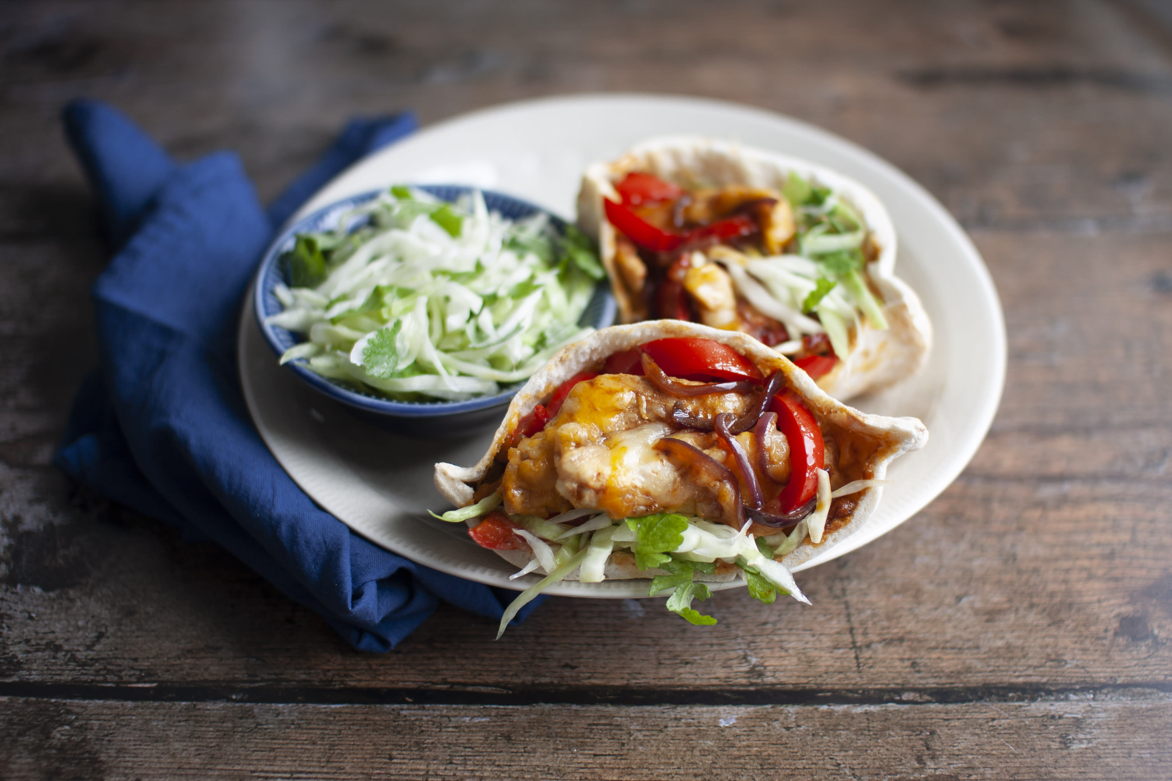 Cheesy Chicken and Pepper Pitta with Fresh Slaw