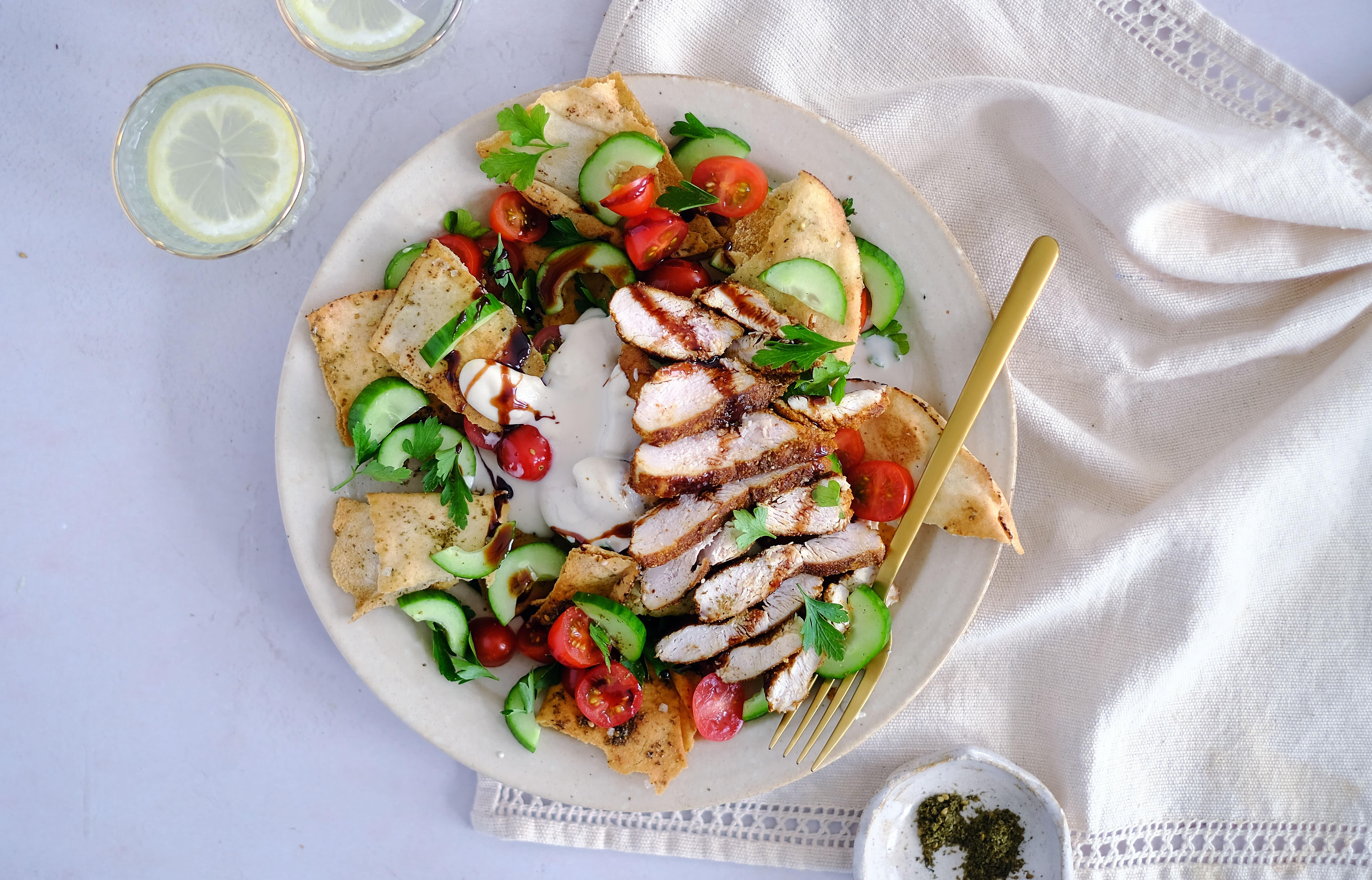 Crispy Chicken and Hummus Fattoush Salad with Pomegranate Molasses
