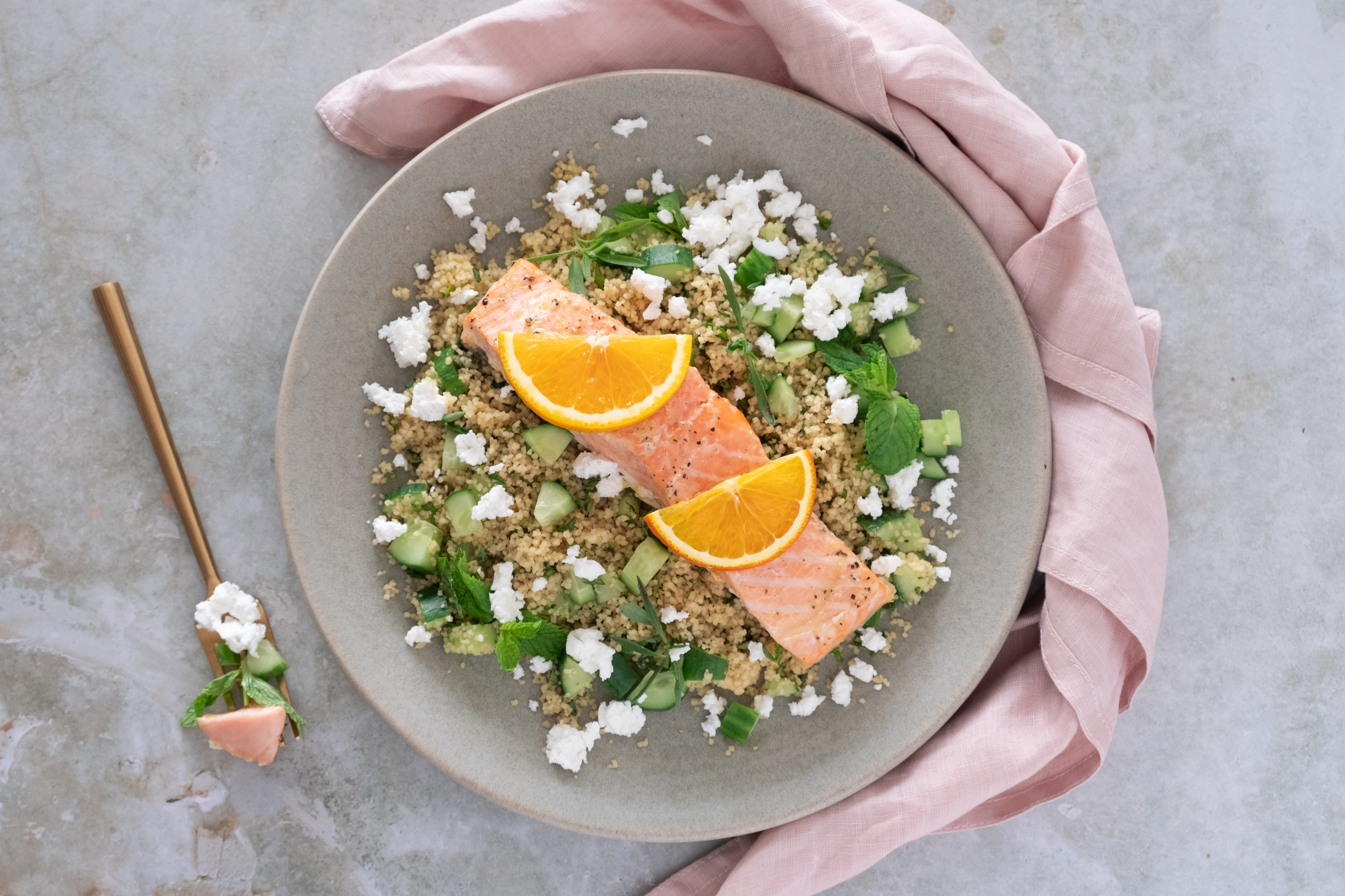 Orange Baked Salmon with Middle Eastern Couscous