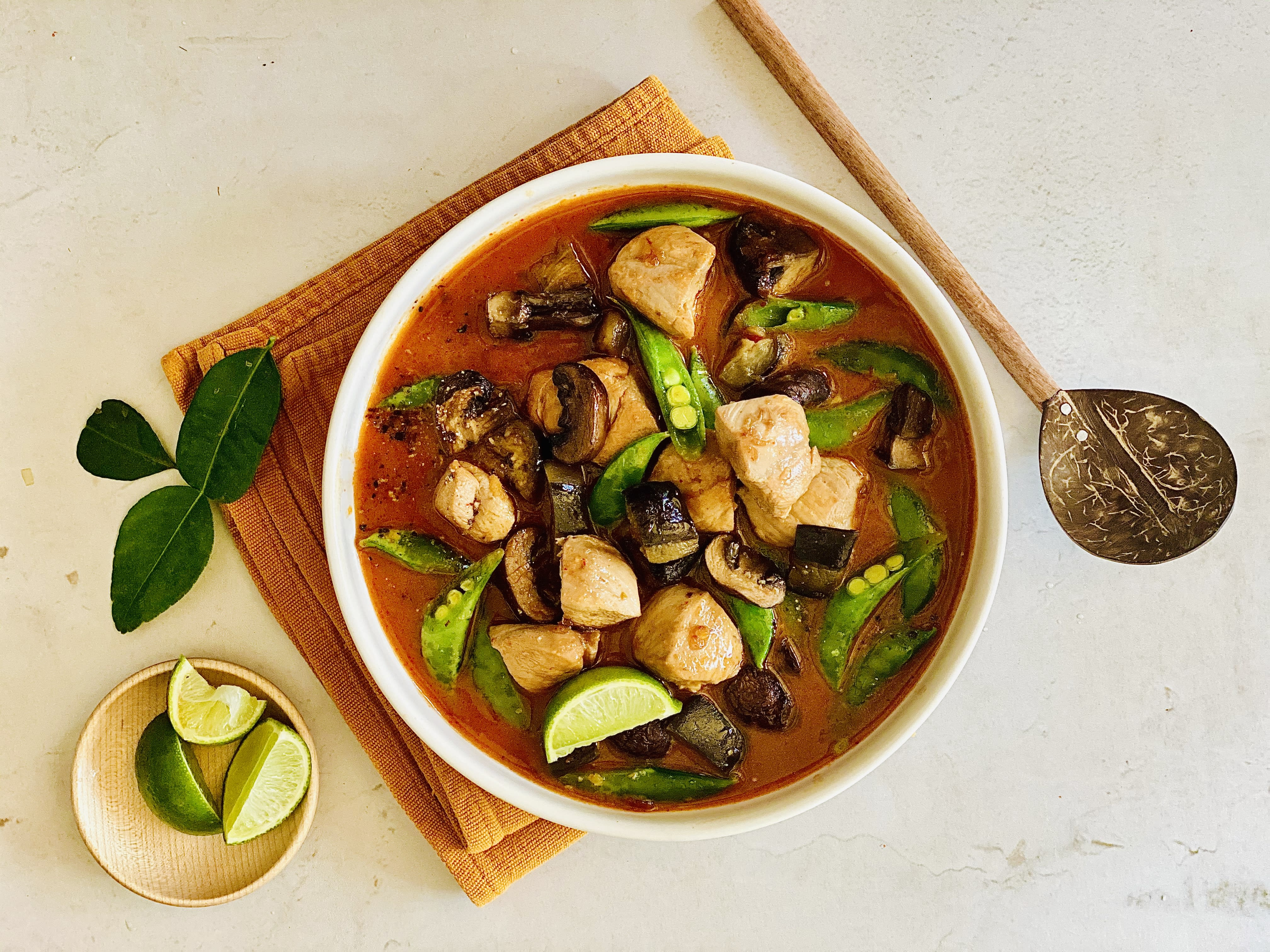 Red Thai Chicken Curry with Eggplant and Mushroom