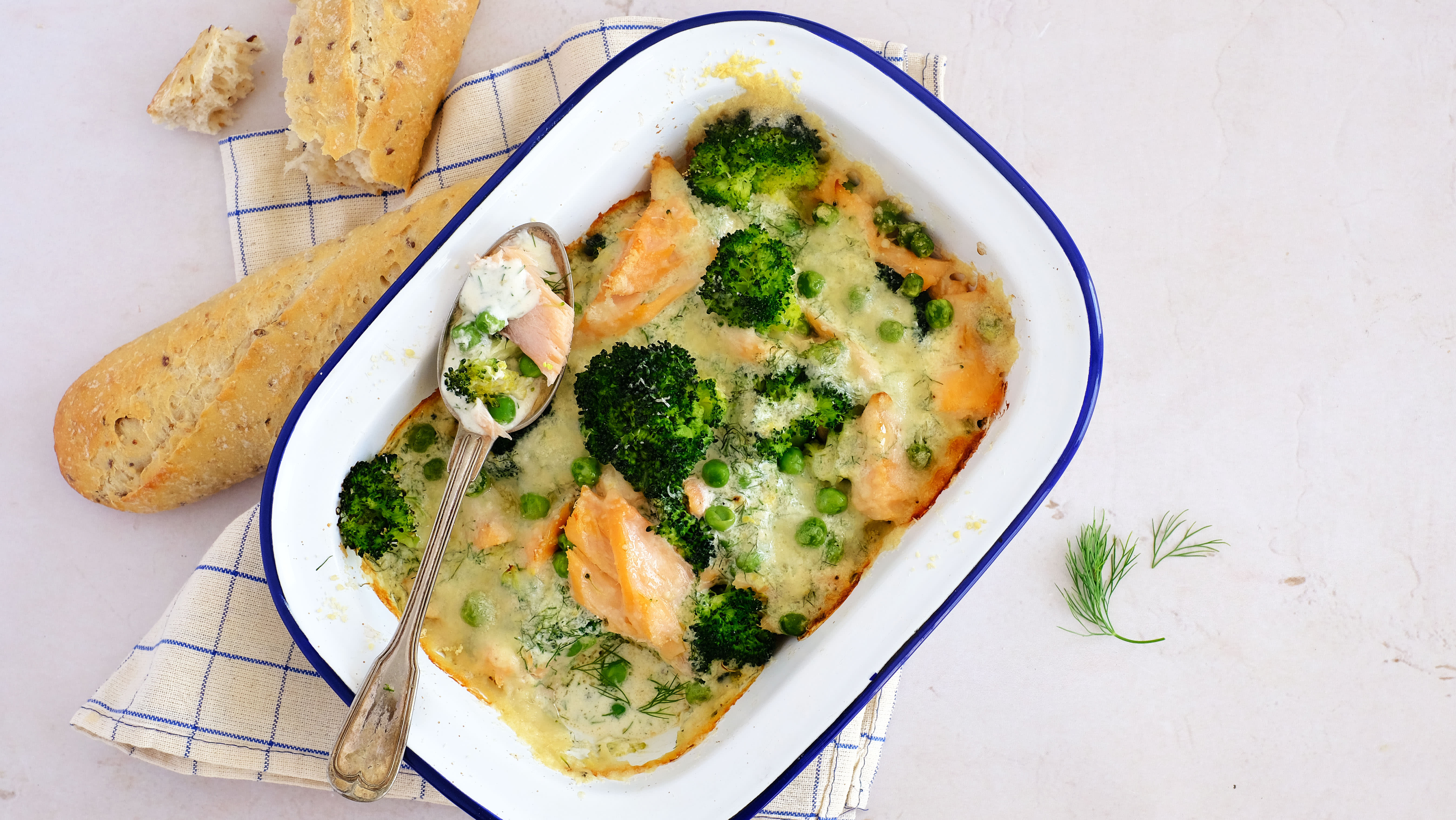 Quick and Cheesy Salmon Bake with Broccoli and Peas