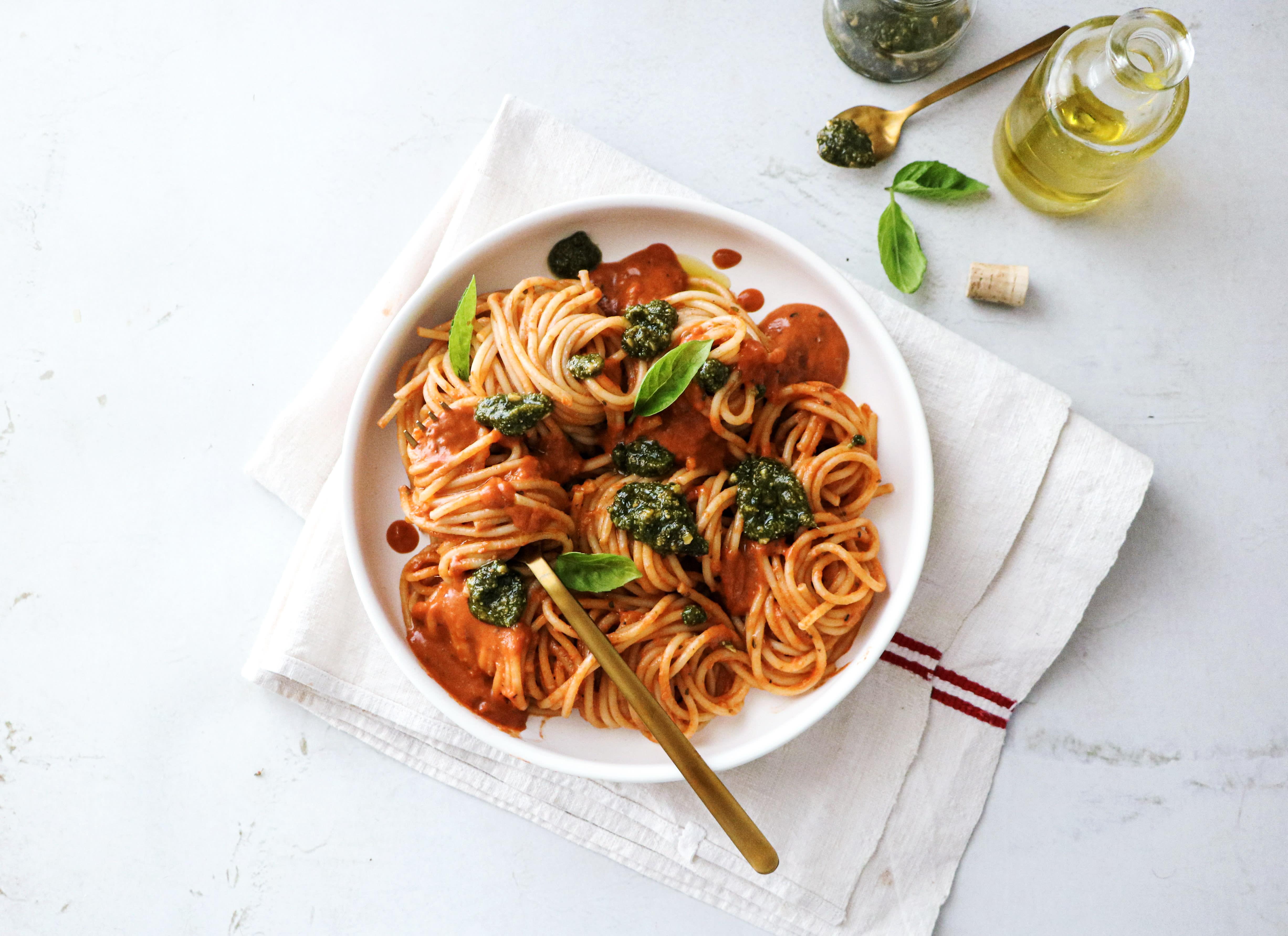 Spaghetti in Creamy Tomato Sauce with Pesto