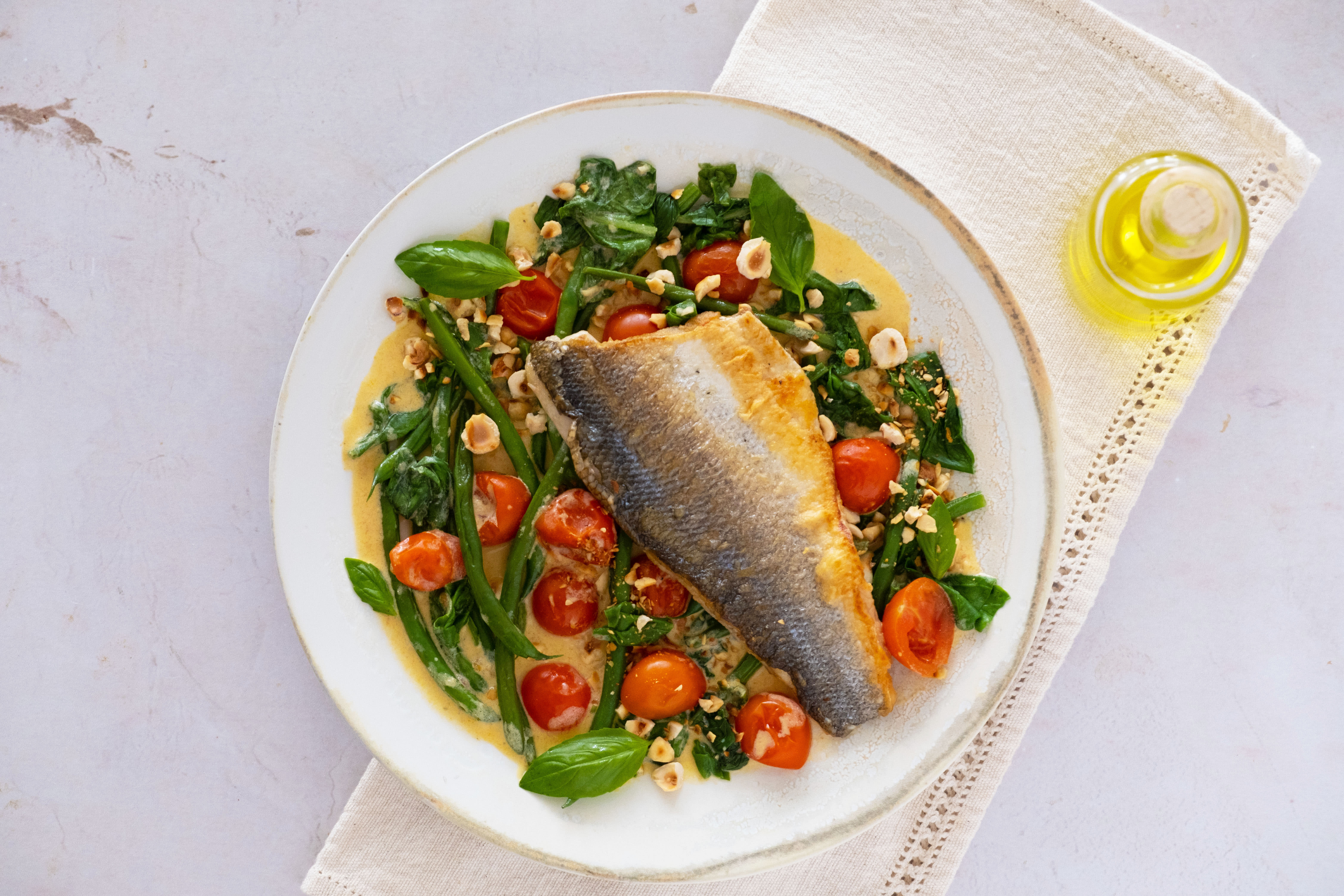 Seabass with Crunchy Hazelnuts, Green Beans and Cherry Tomatoes