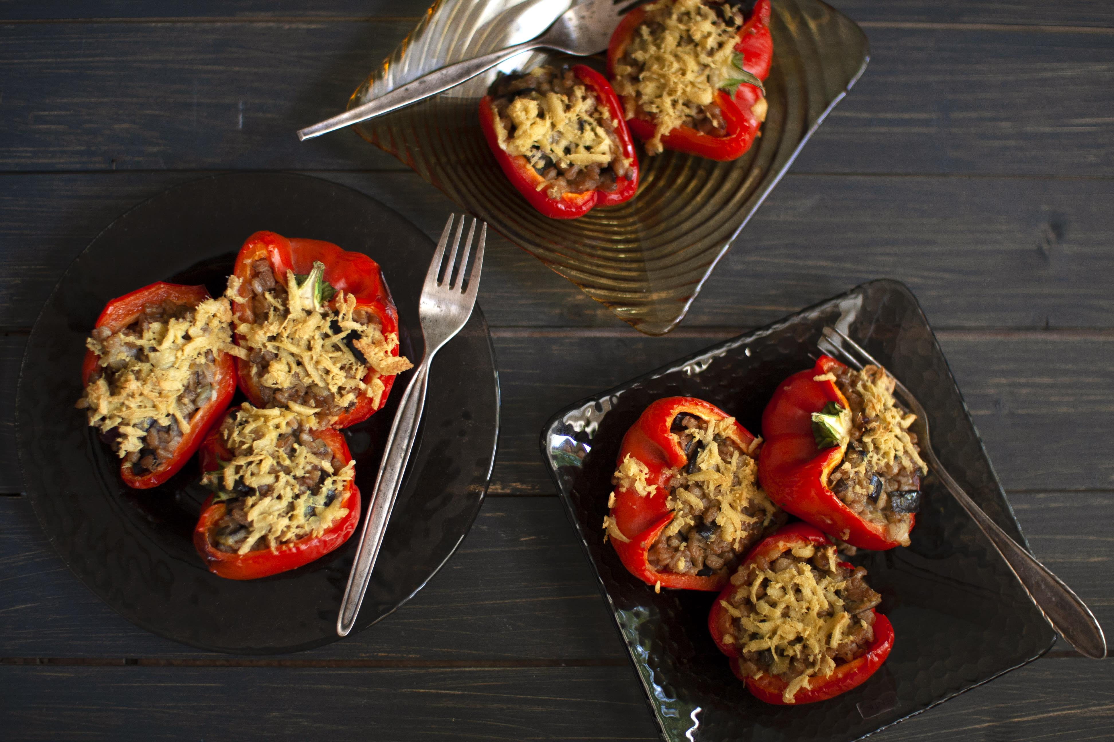 Farro and Eggplant Stuffed Peppers with Vegan Mozzarella