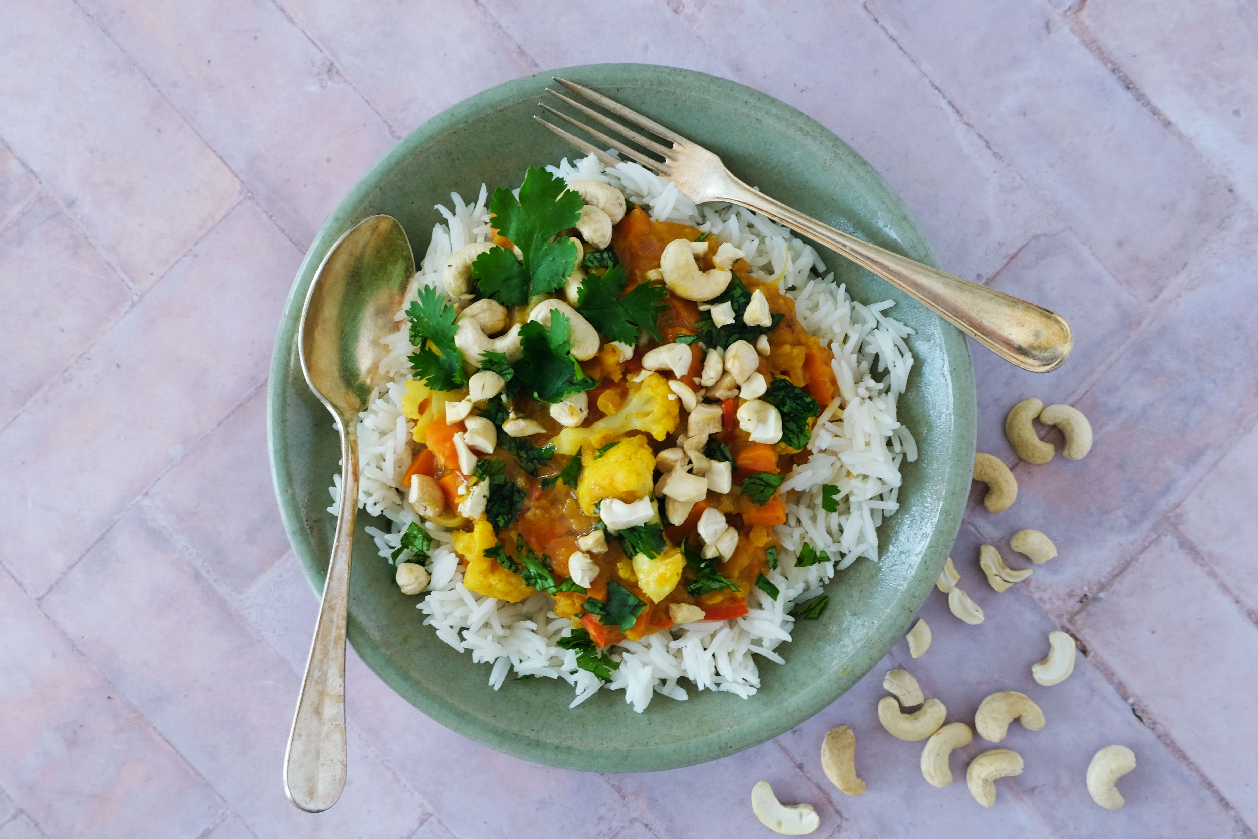 Sri Lankan Lentil and Vegetable Curry with Basmati Rice