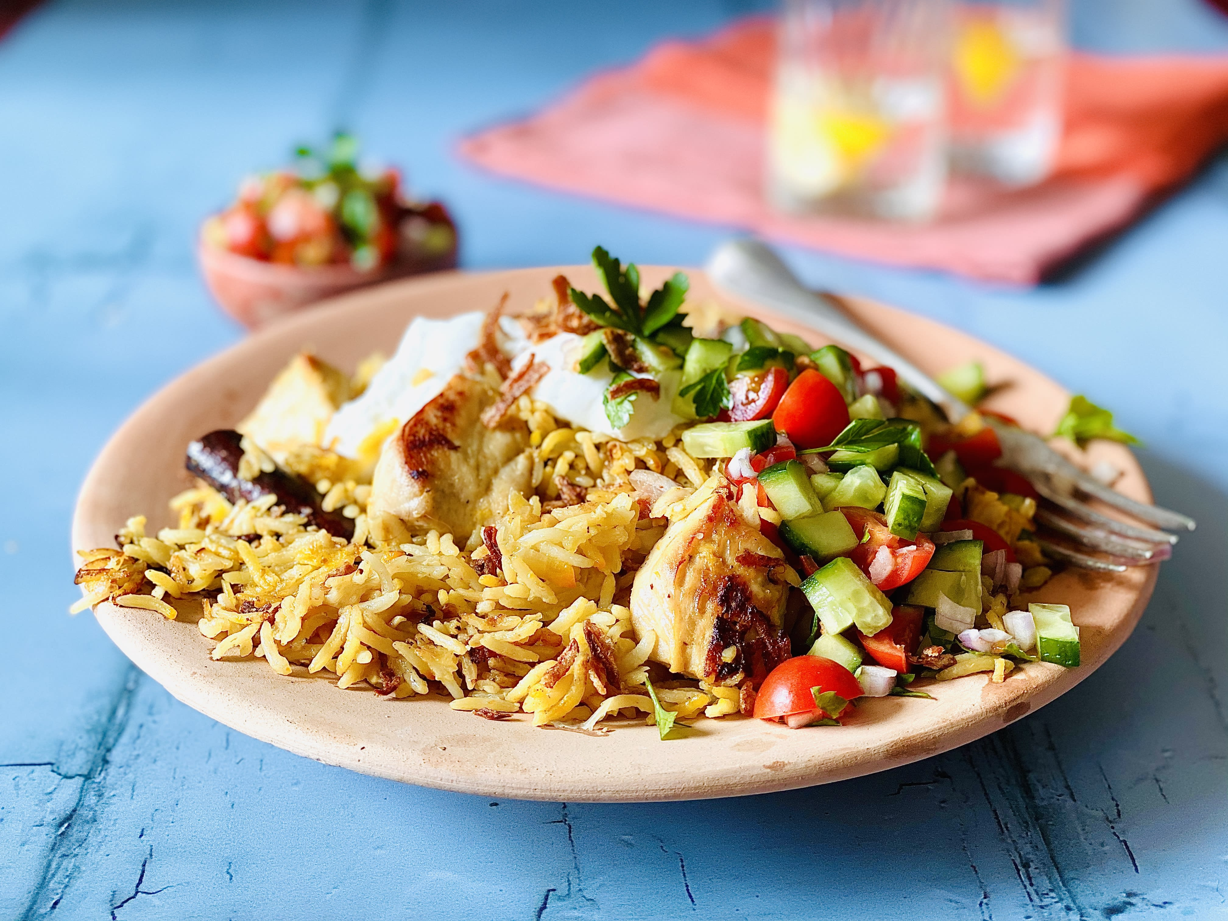 Chicken and Saffron Pilaf with Shirazi Salad