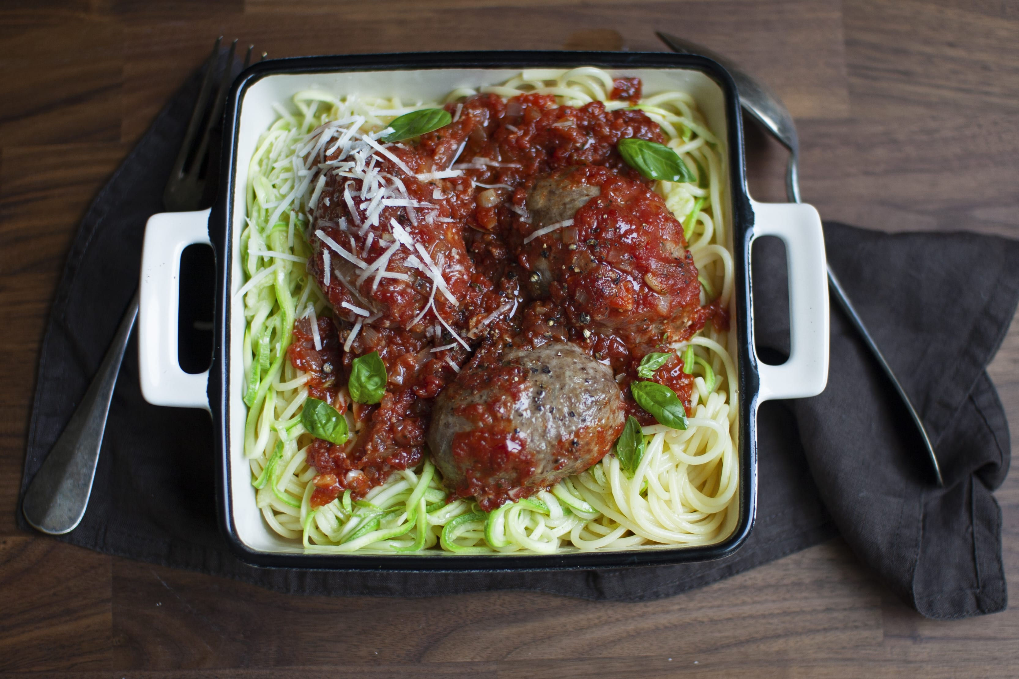 Meatball Marinara with Spaghetti and Zoodles