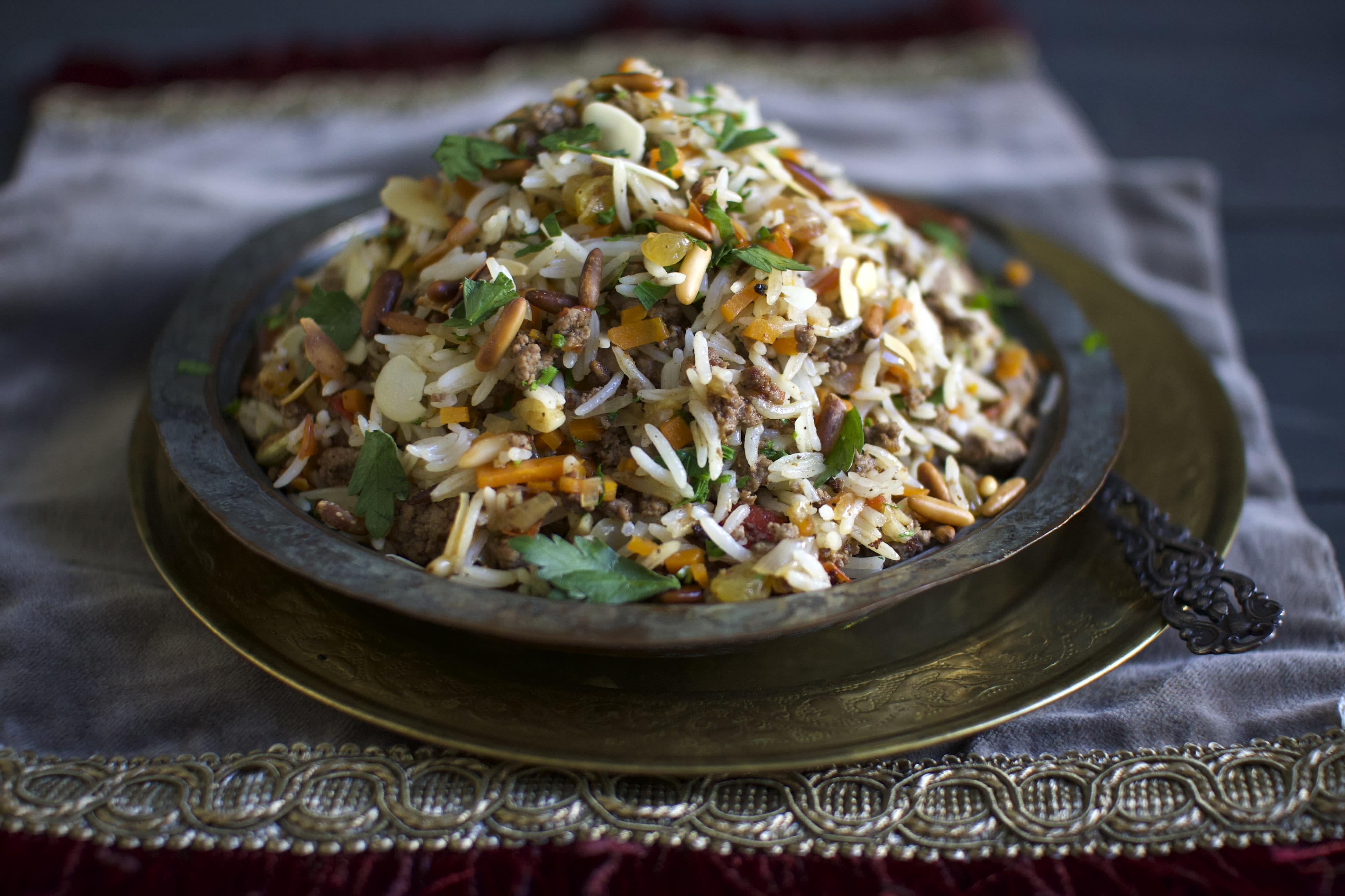 Lebanese Hashweh Beef and Rice One-Pan with Pine Nuts and Yogurt
