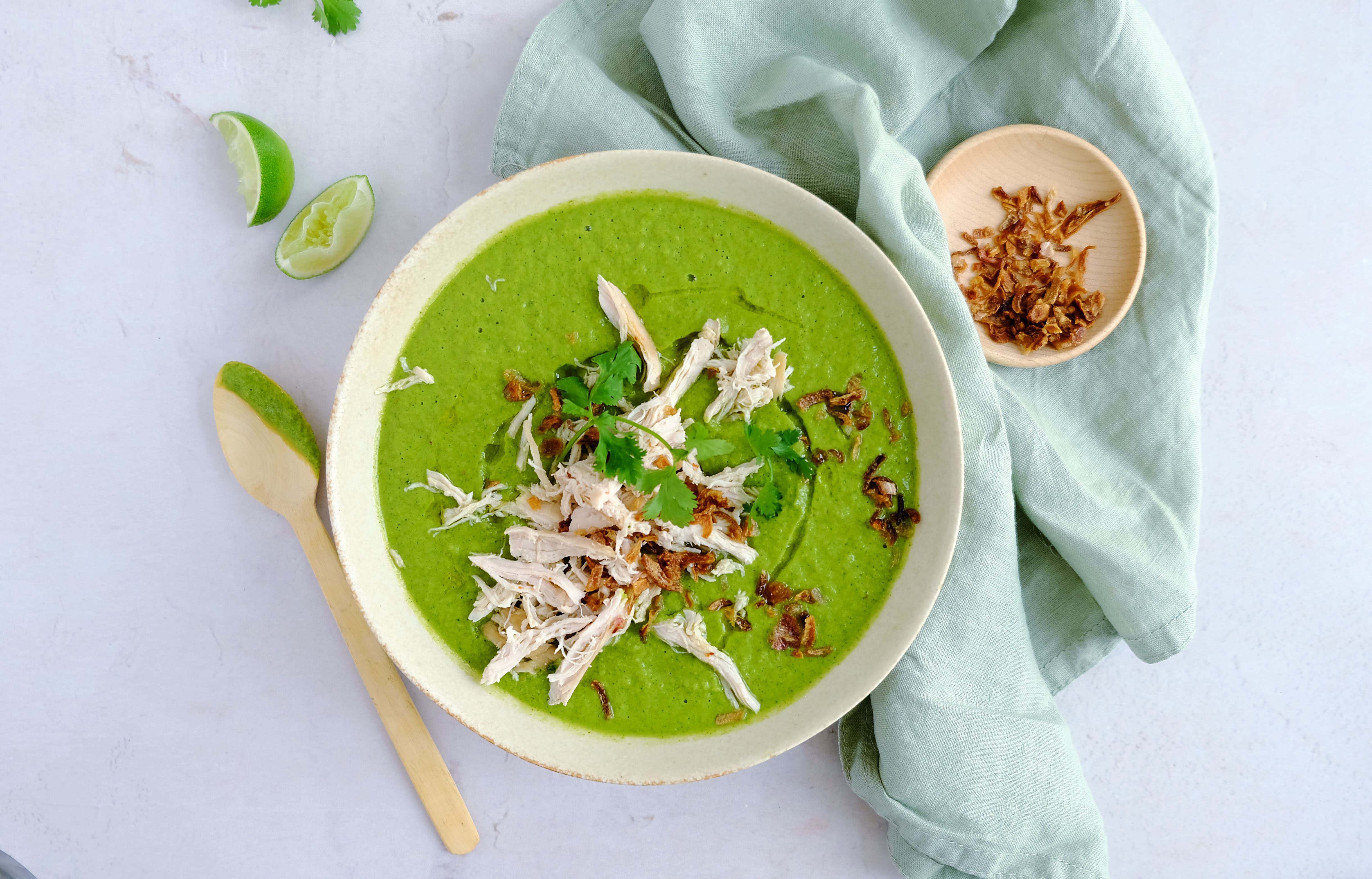 Thai Chicken and Broccoli Soup with Crispy Onions