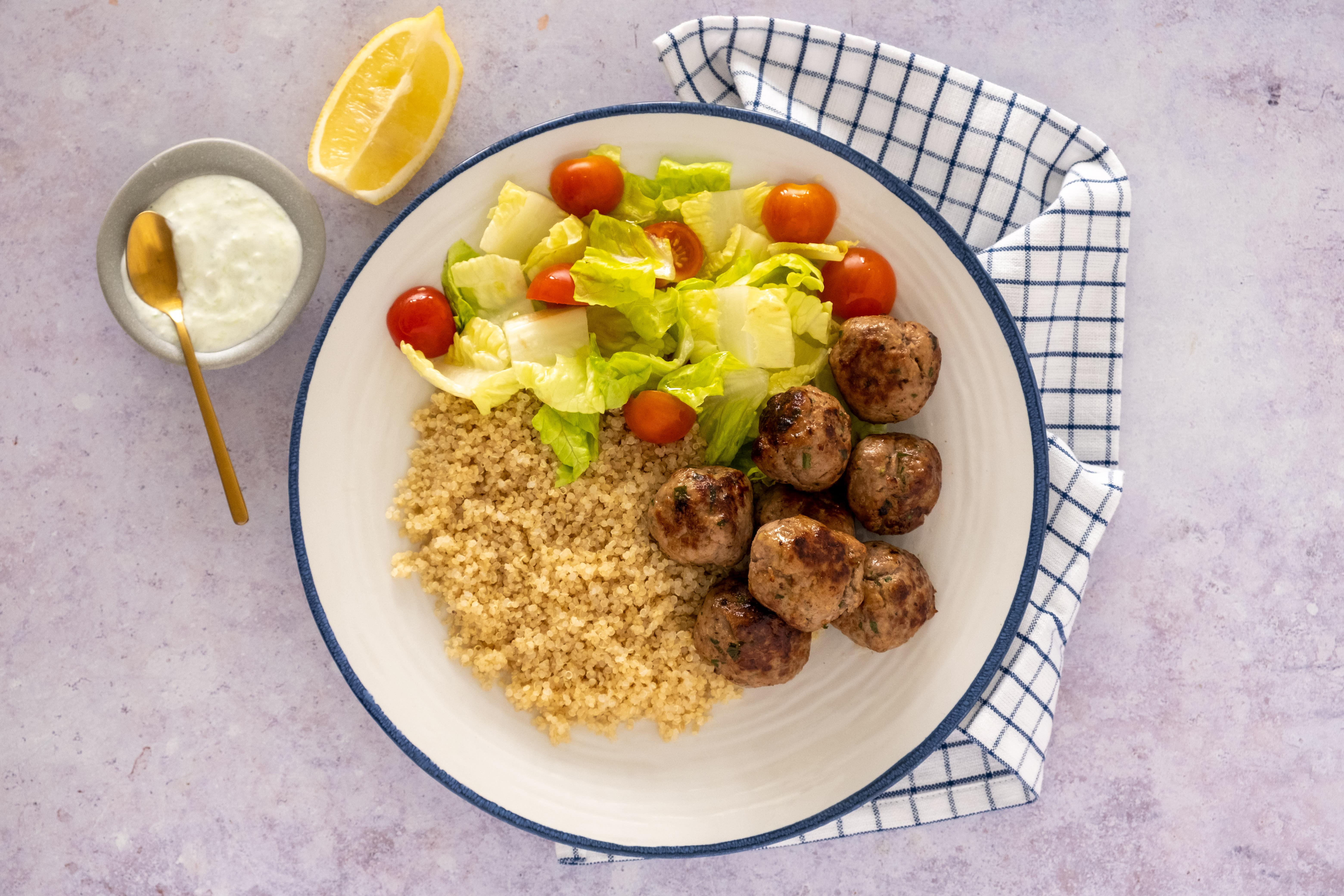 Greek Quinoa and Lamb Meatball Bowl