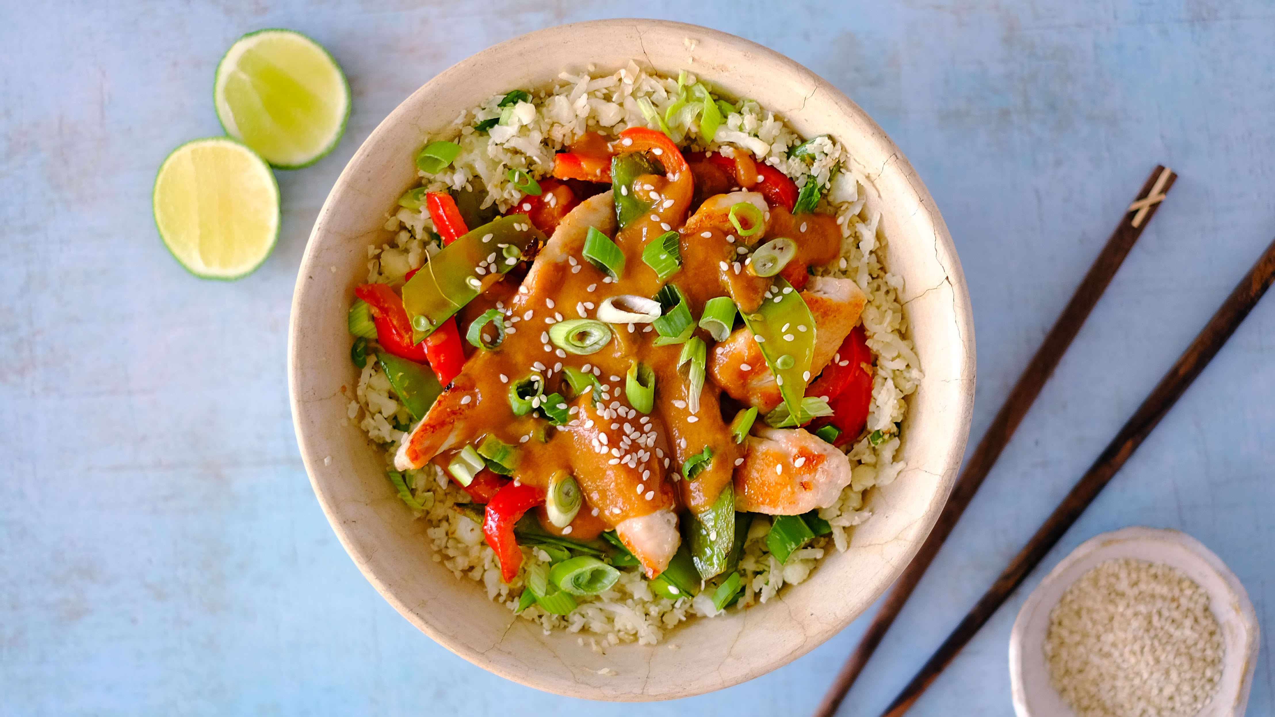 Cauliflower Fried Rice with Chicken and a Zingy Peanut Sauce