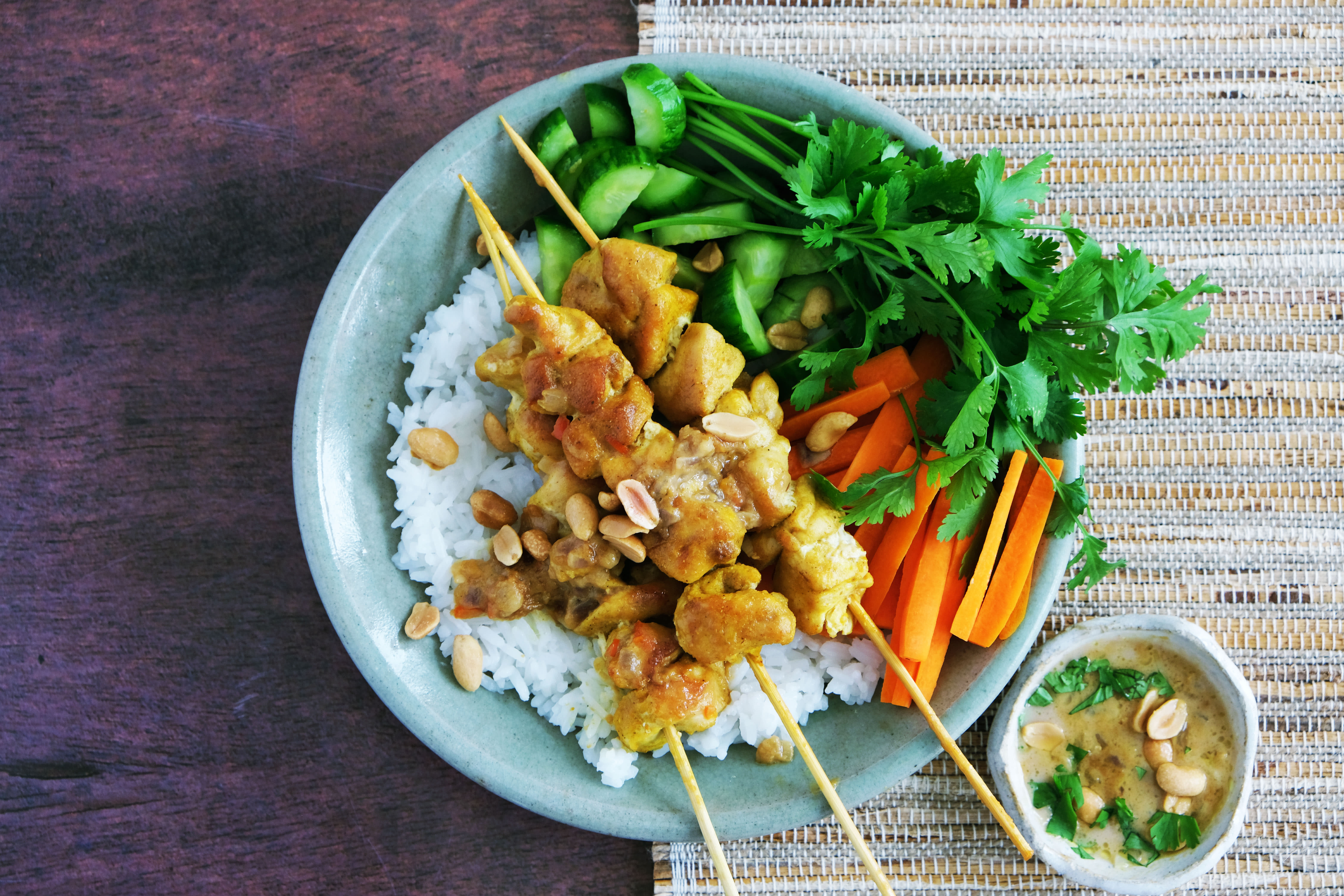 Satay Chicken Skewers with Jasmine Rice and Pickled Cucumber