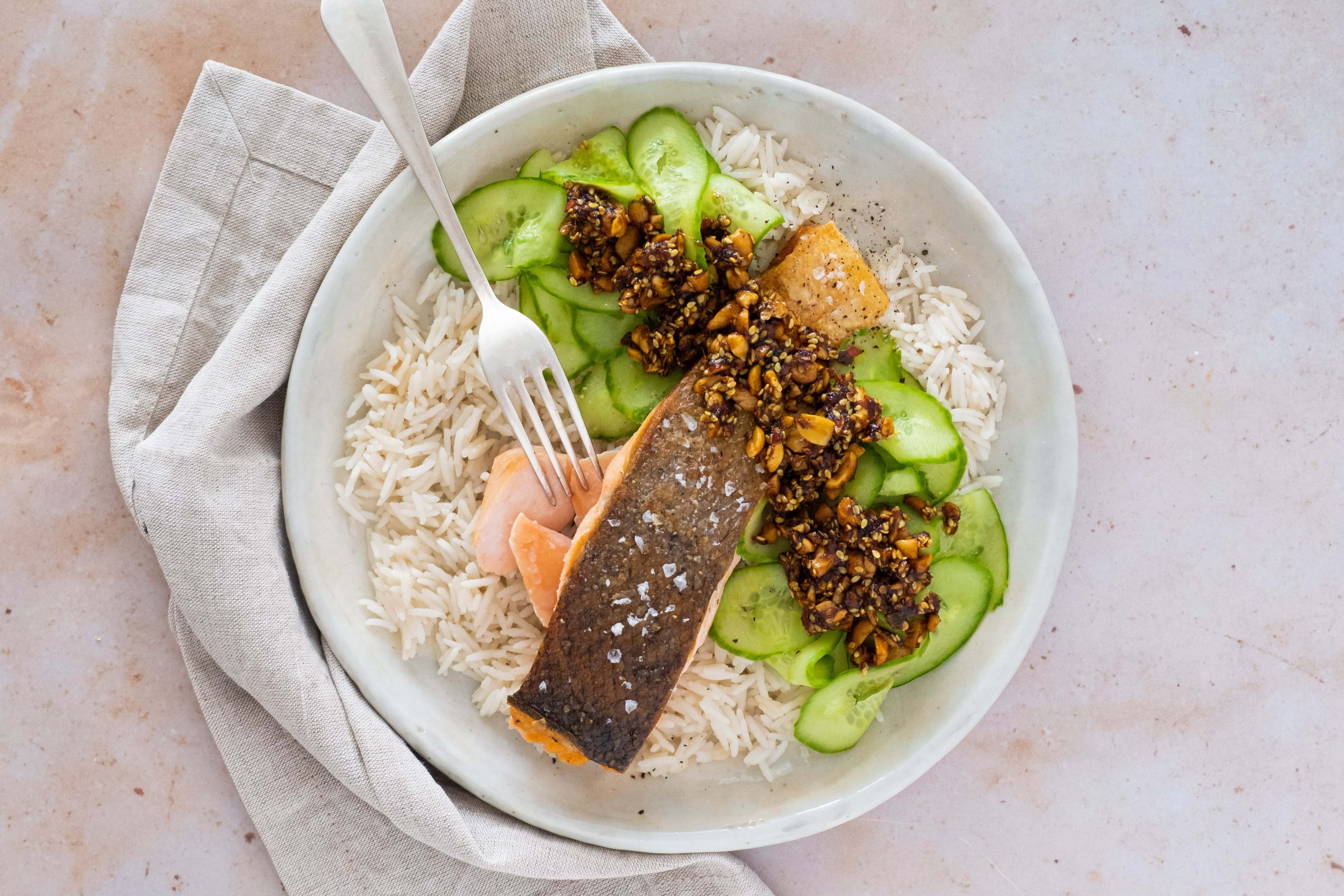 Crispy Salmon with Coconut Rice and Crackle Topping