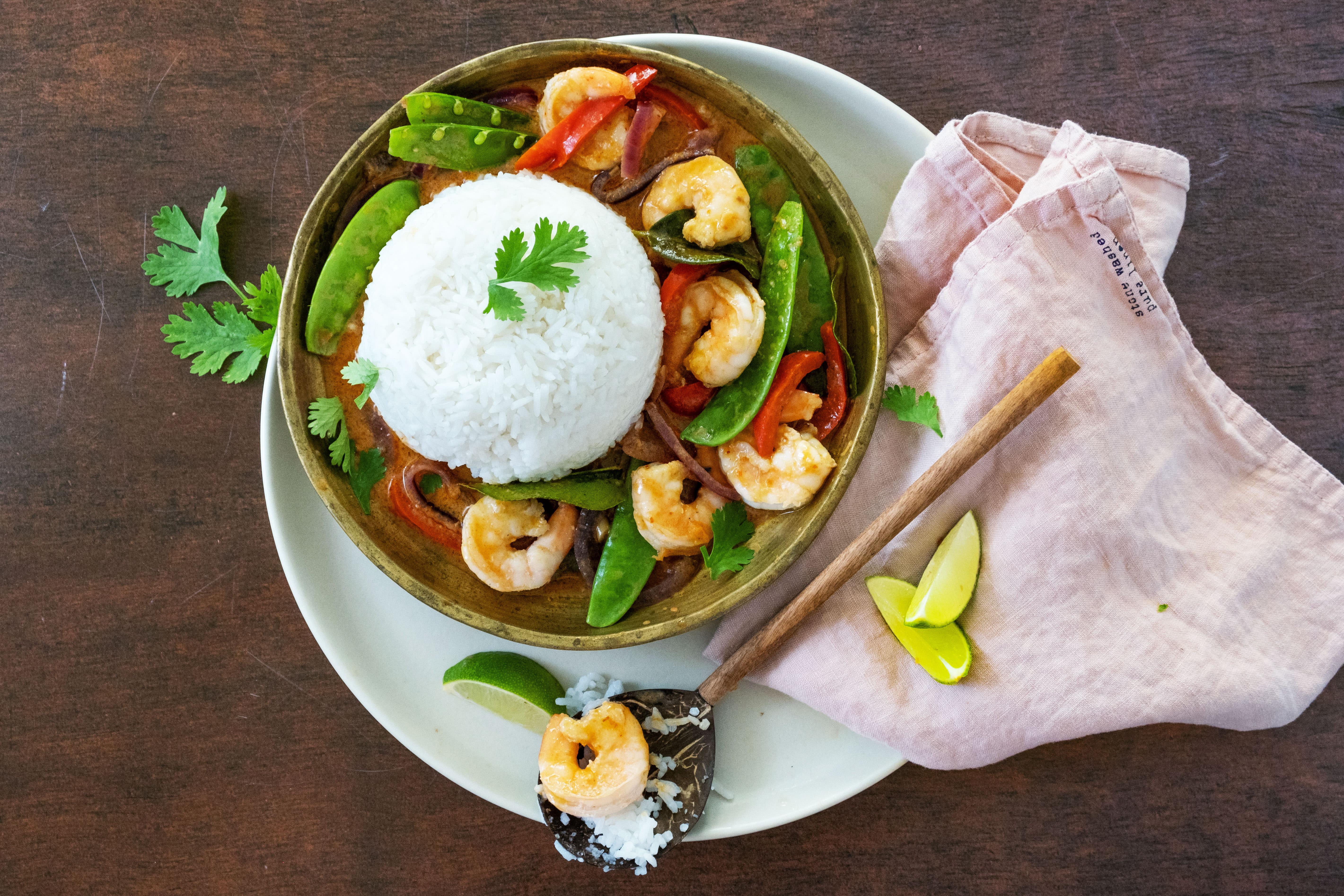 Thai Red Curry with Jumbo Prawns and Jasmine Rice