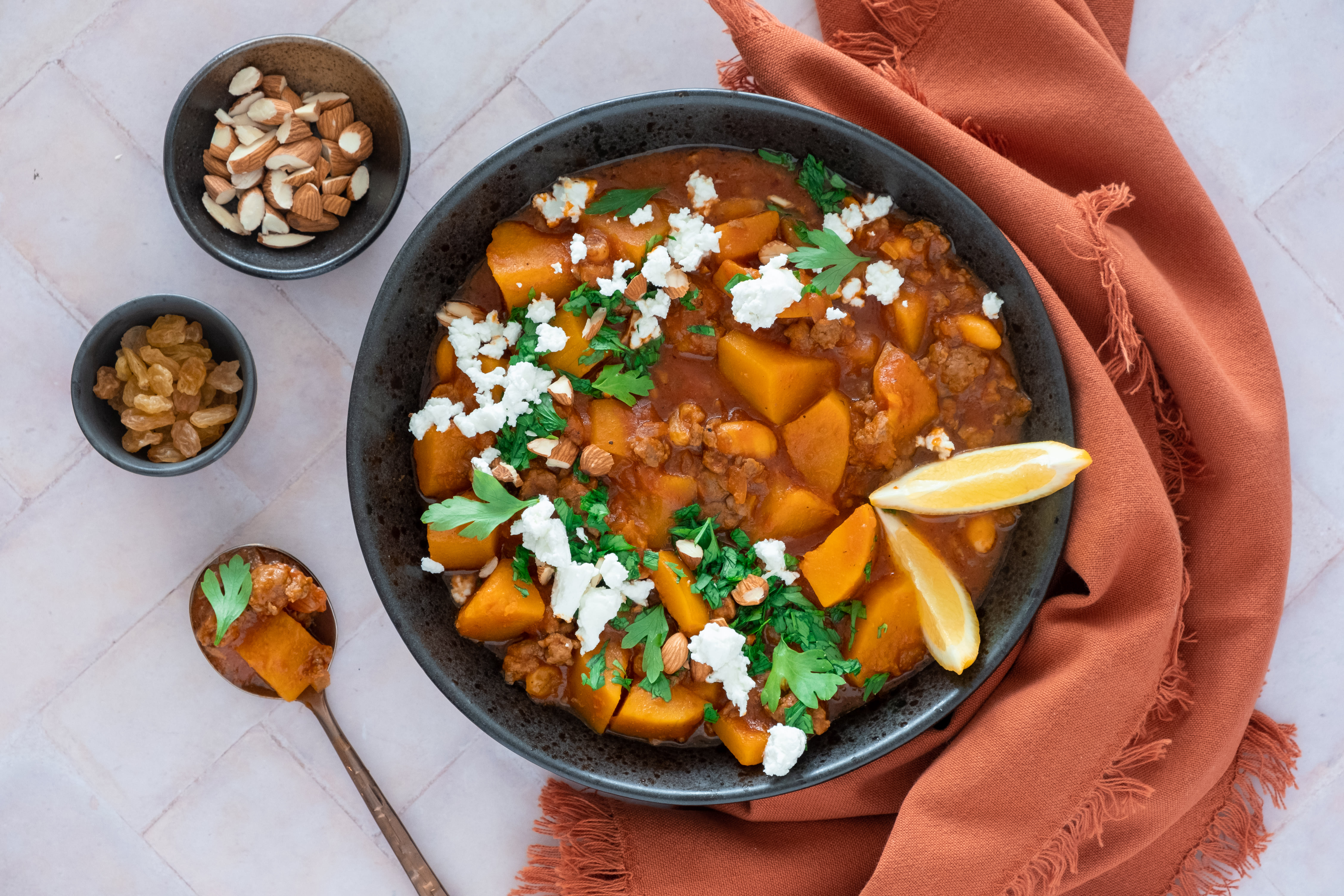 Lamb and Butternut Squash Tagine with Feta Cheese