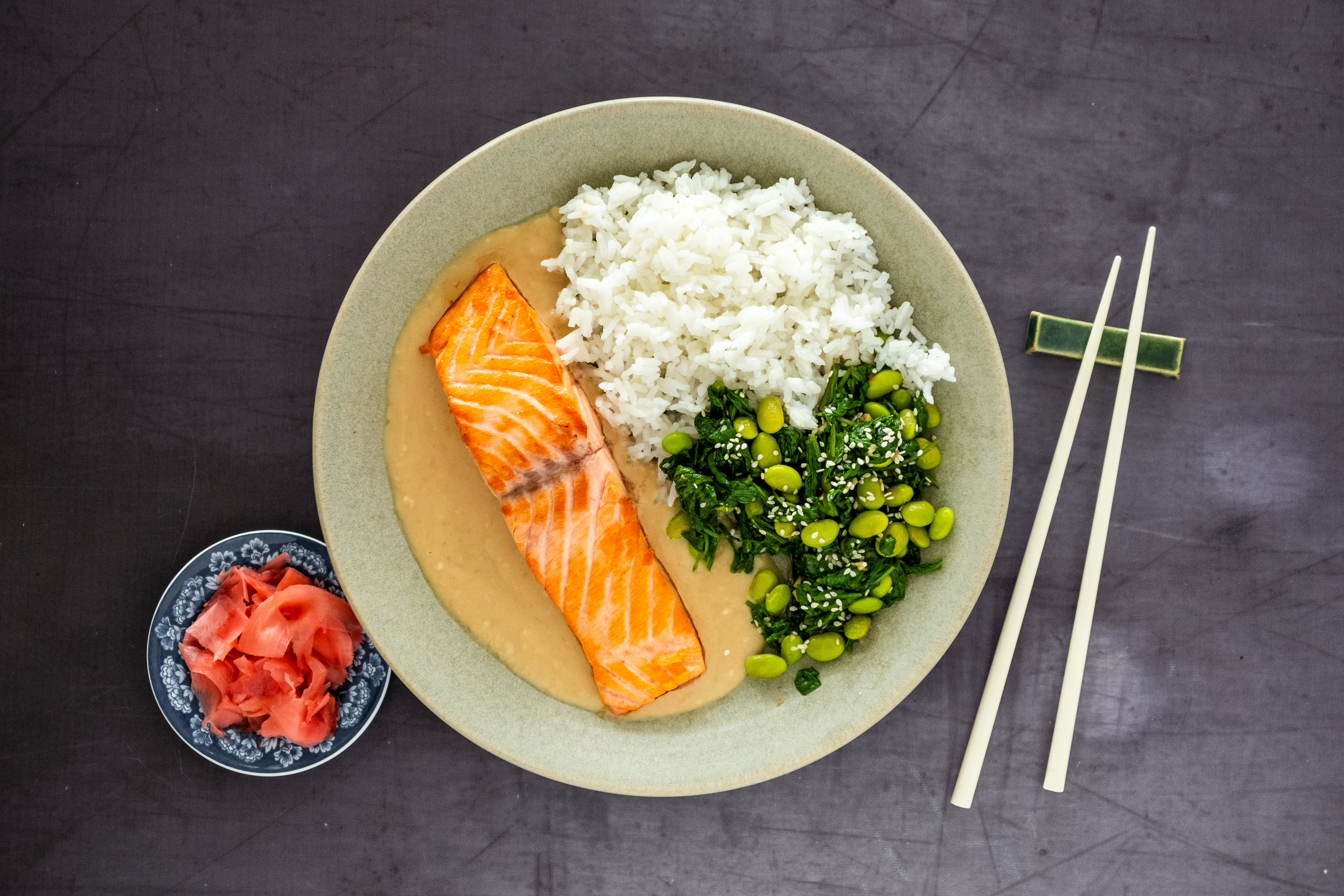 Salmon in Sesame Sauce with Jasmine Rice and Spinach Salad