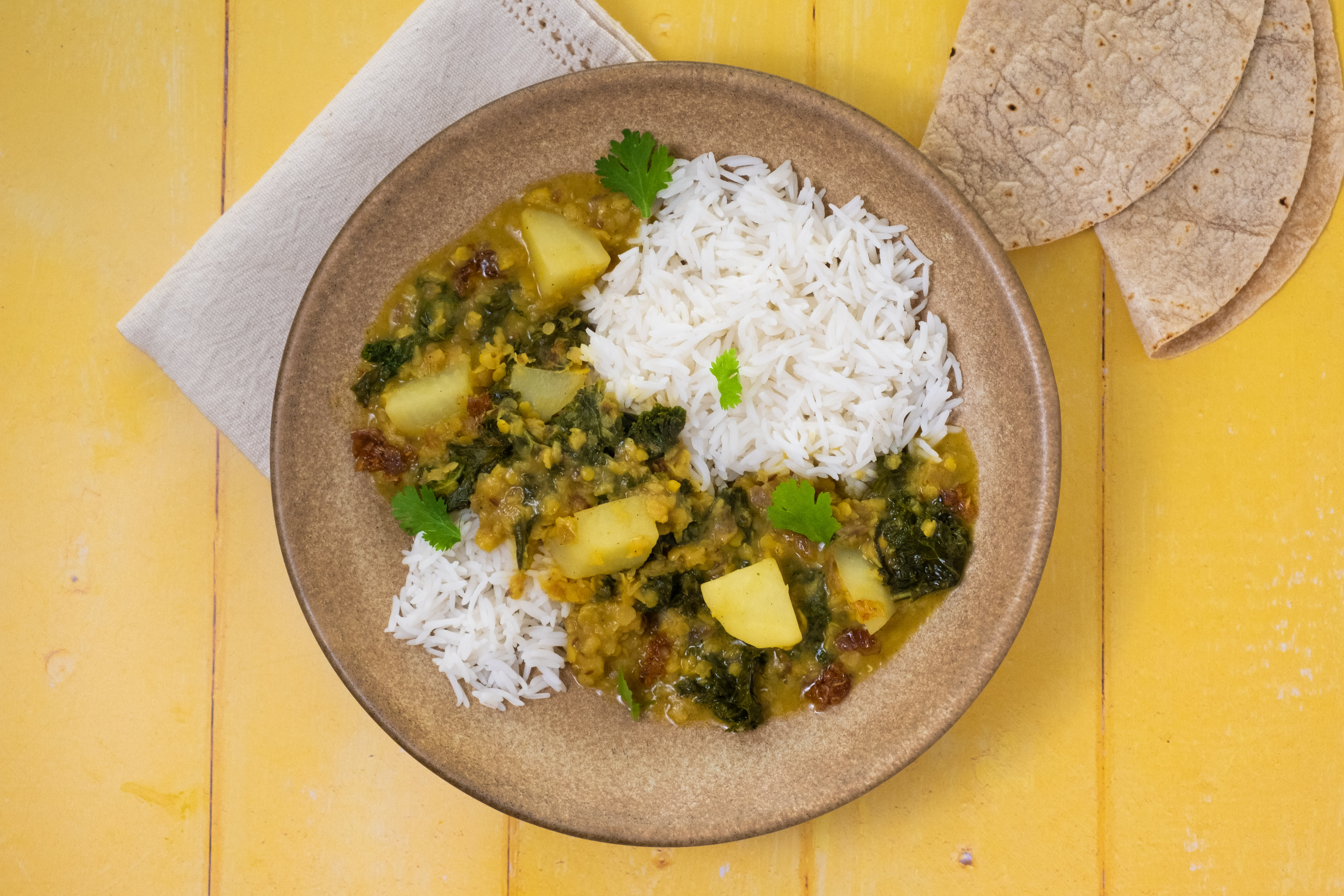 Potato Kale Tadka Dal with Basmati Rice and Chapati