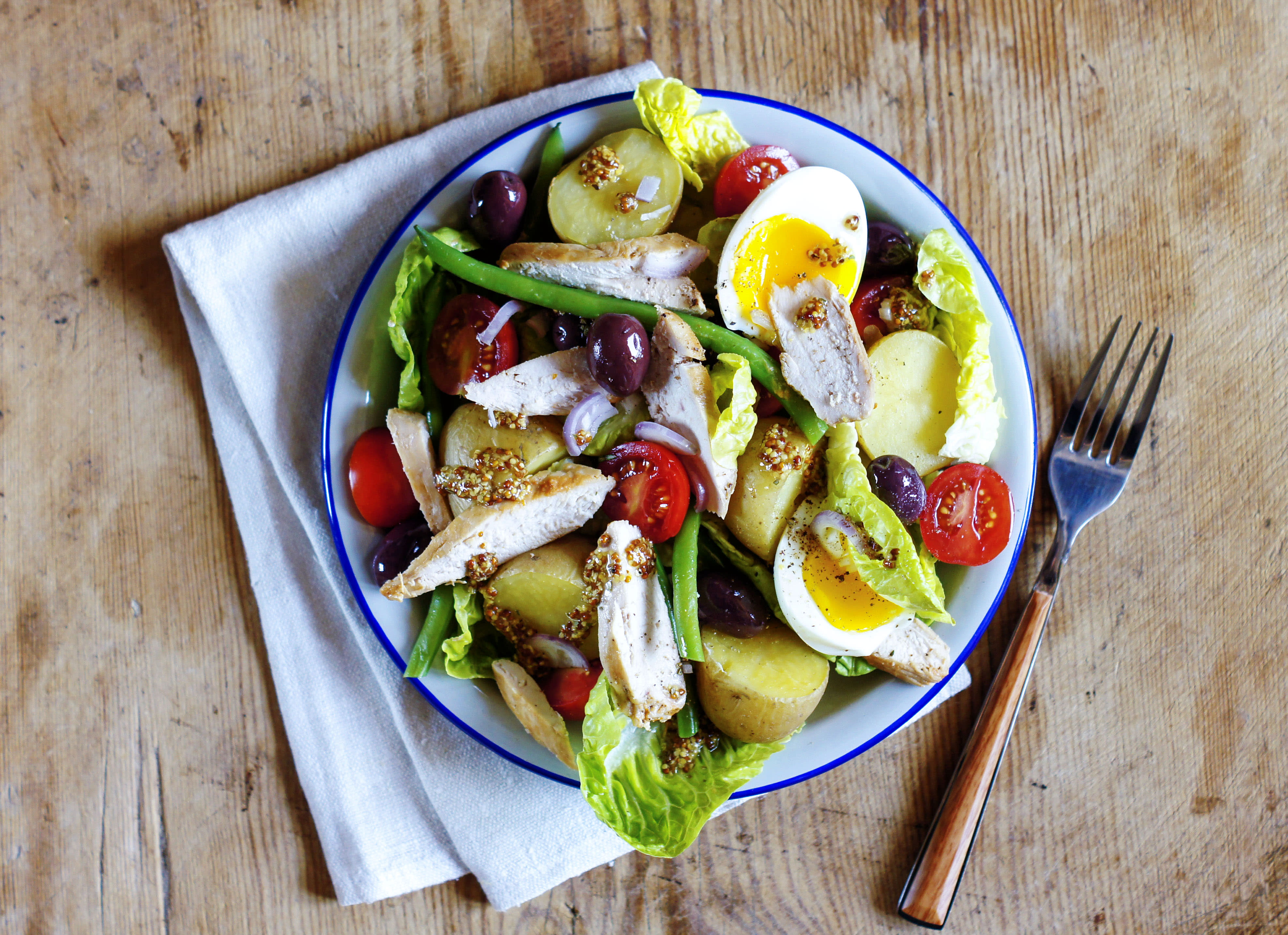 Chicken Nicoise Salad with New Potatoes and Mustard Dressing