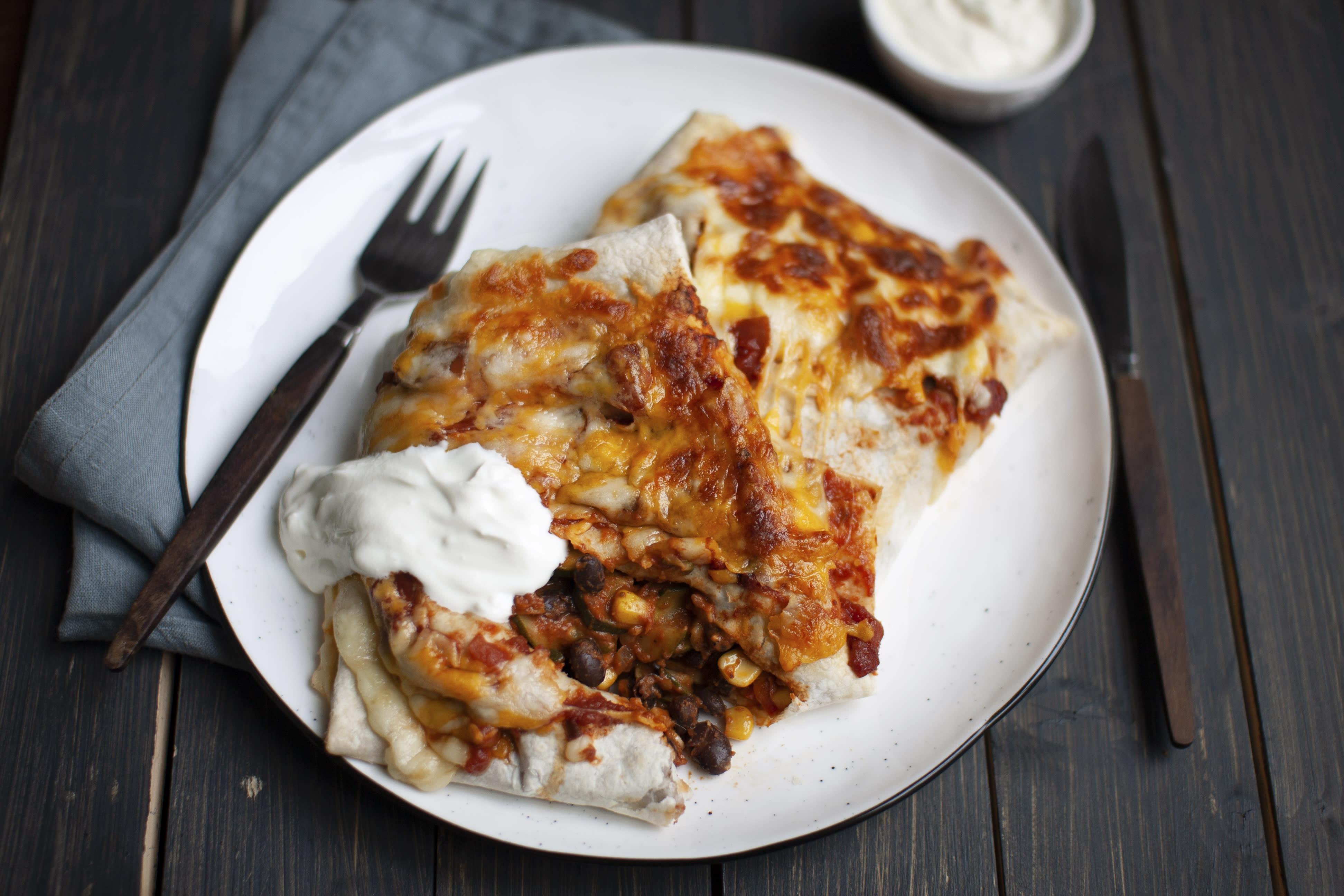 Black Bean and Corn Veggie Enchiladas with Sour Cream