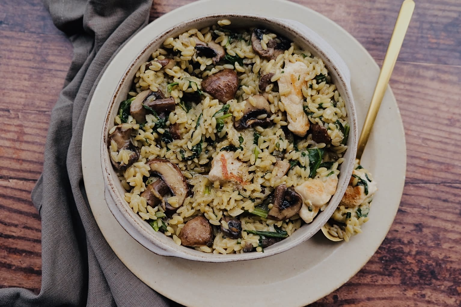Chicken Orzotto with Truffle Oil, Mushrooms and Spinach