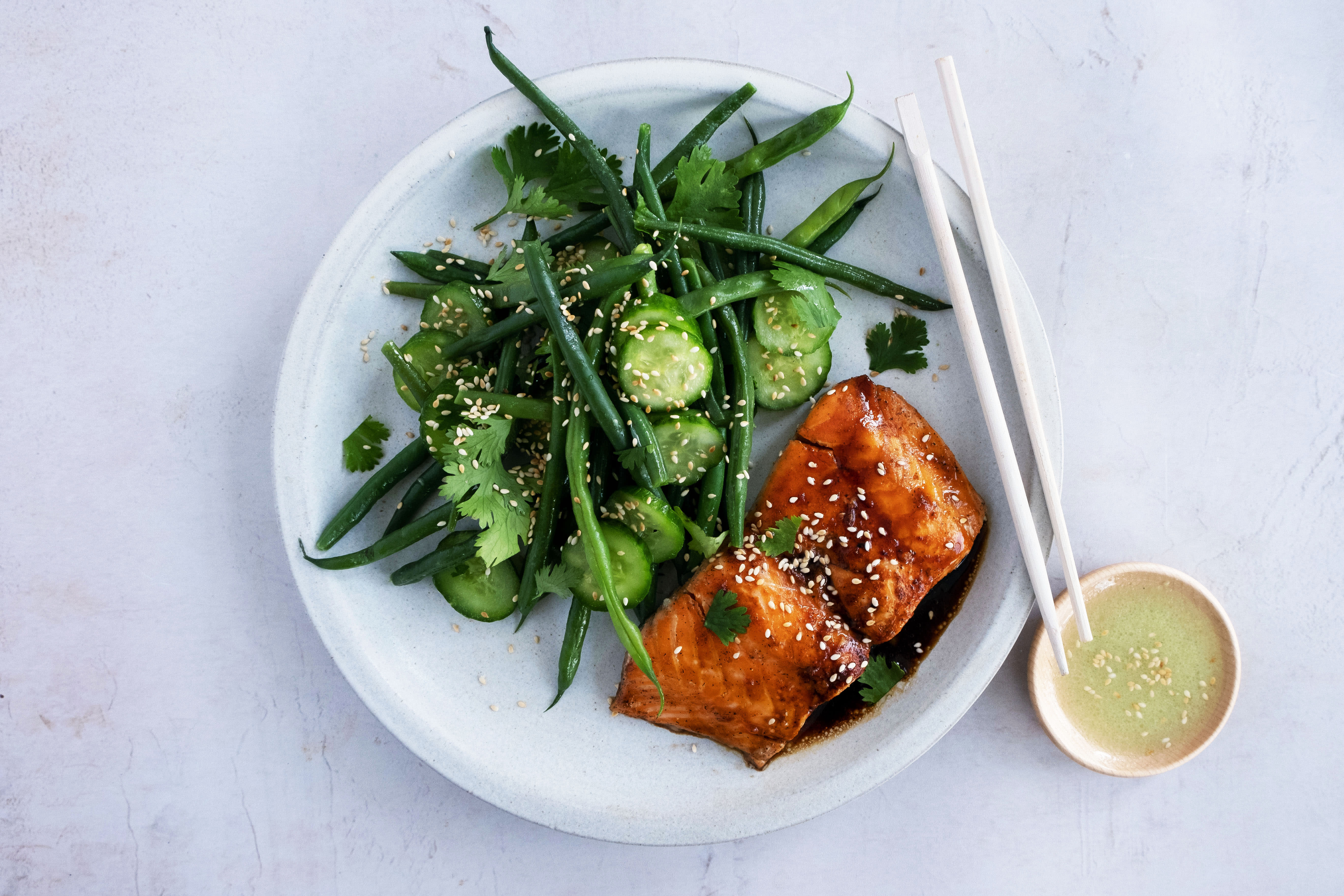 Simple Honey Glazed Salmon with Wasabi Cucumber and Green Bean Salad