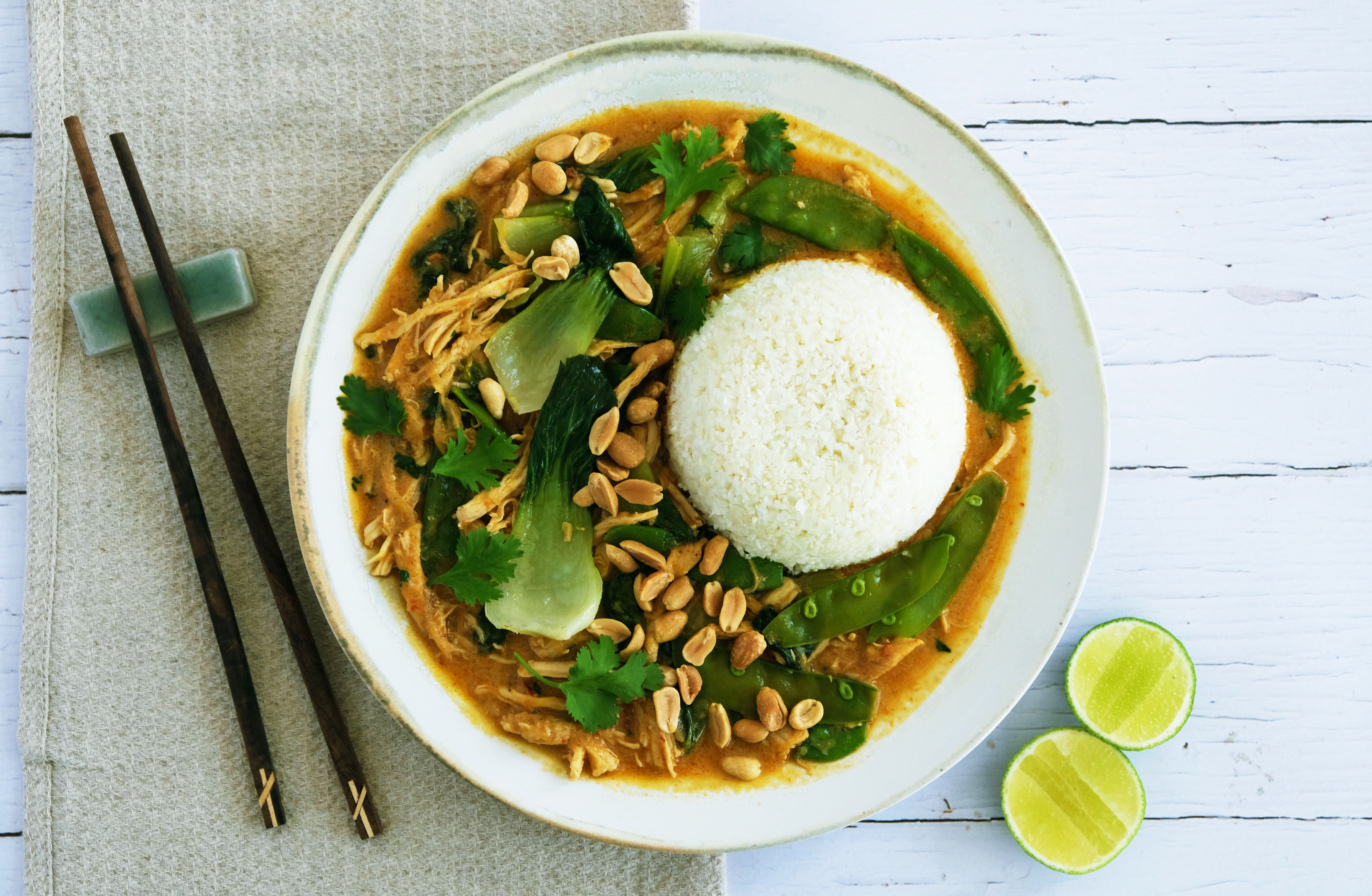 Quick Thai Curry with Pulled Chicken and Cauliflower Rice