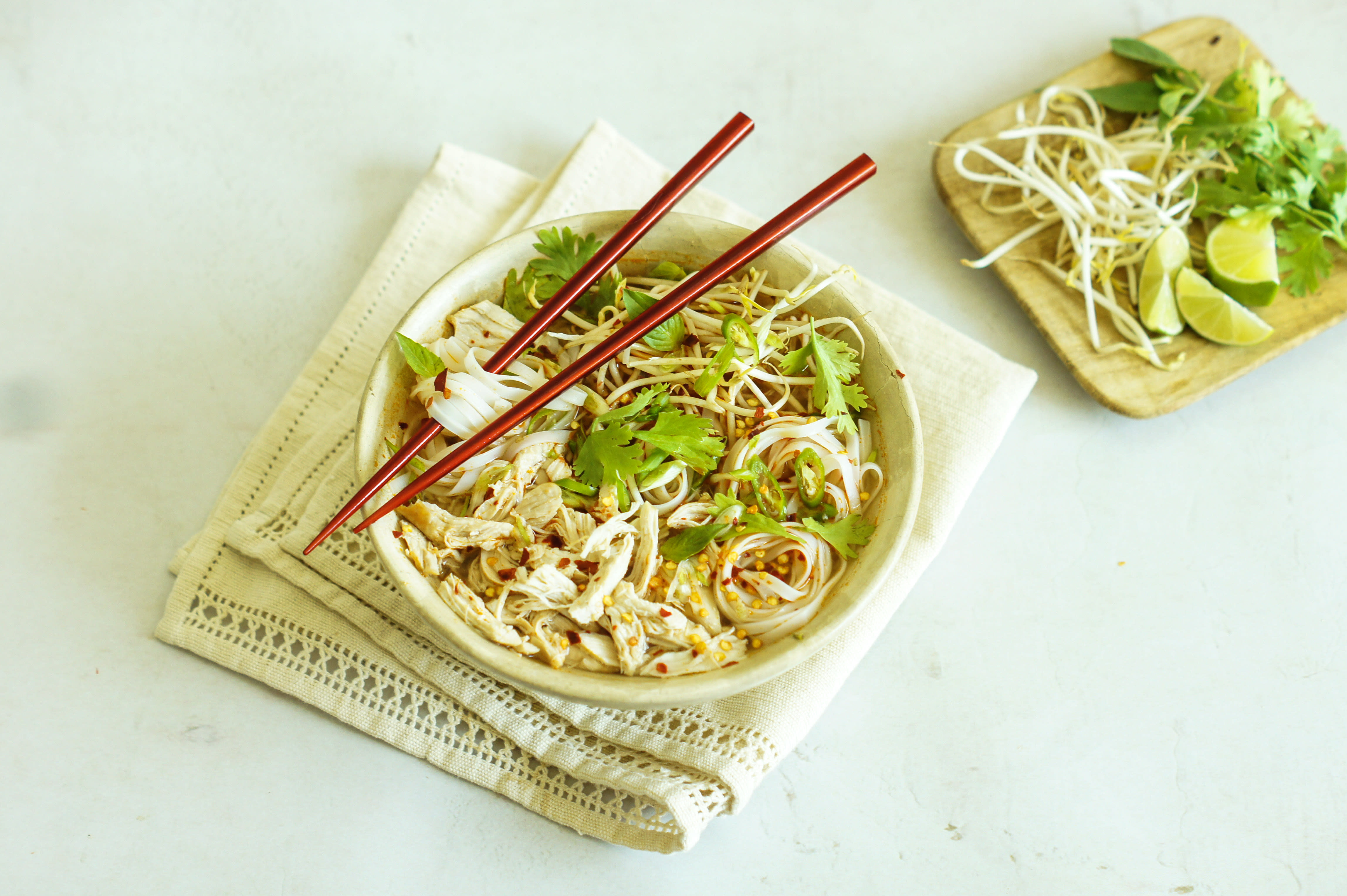 Spicy Chicken Pho with Bean Sprouts