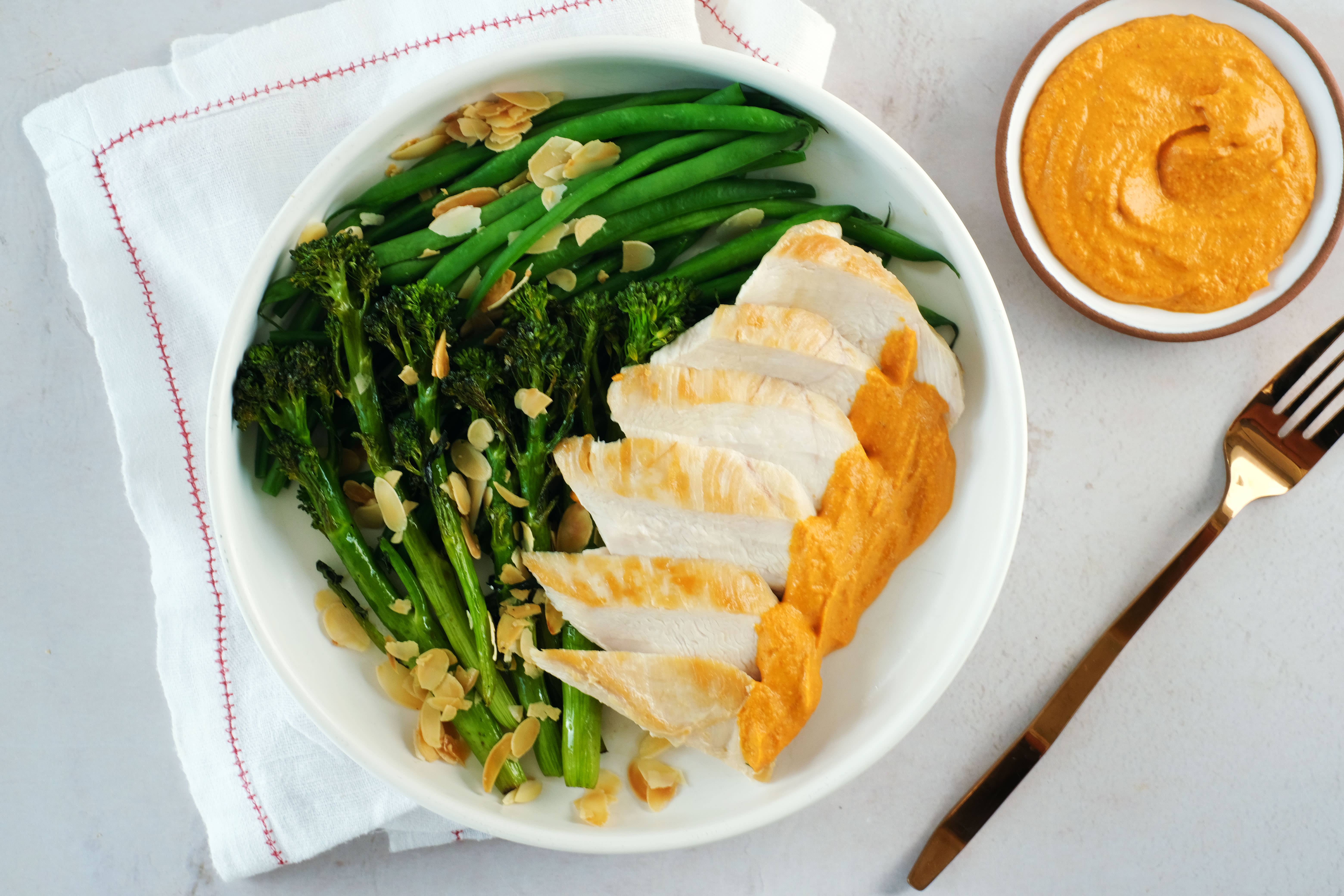Chicken with Romesco Sauce and Roasted Broccolini