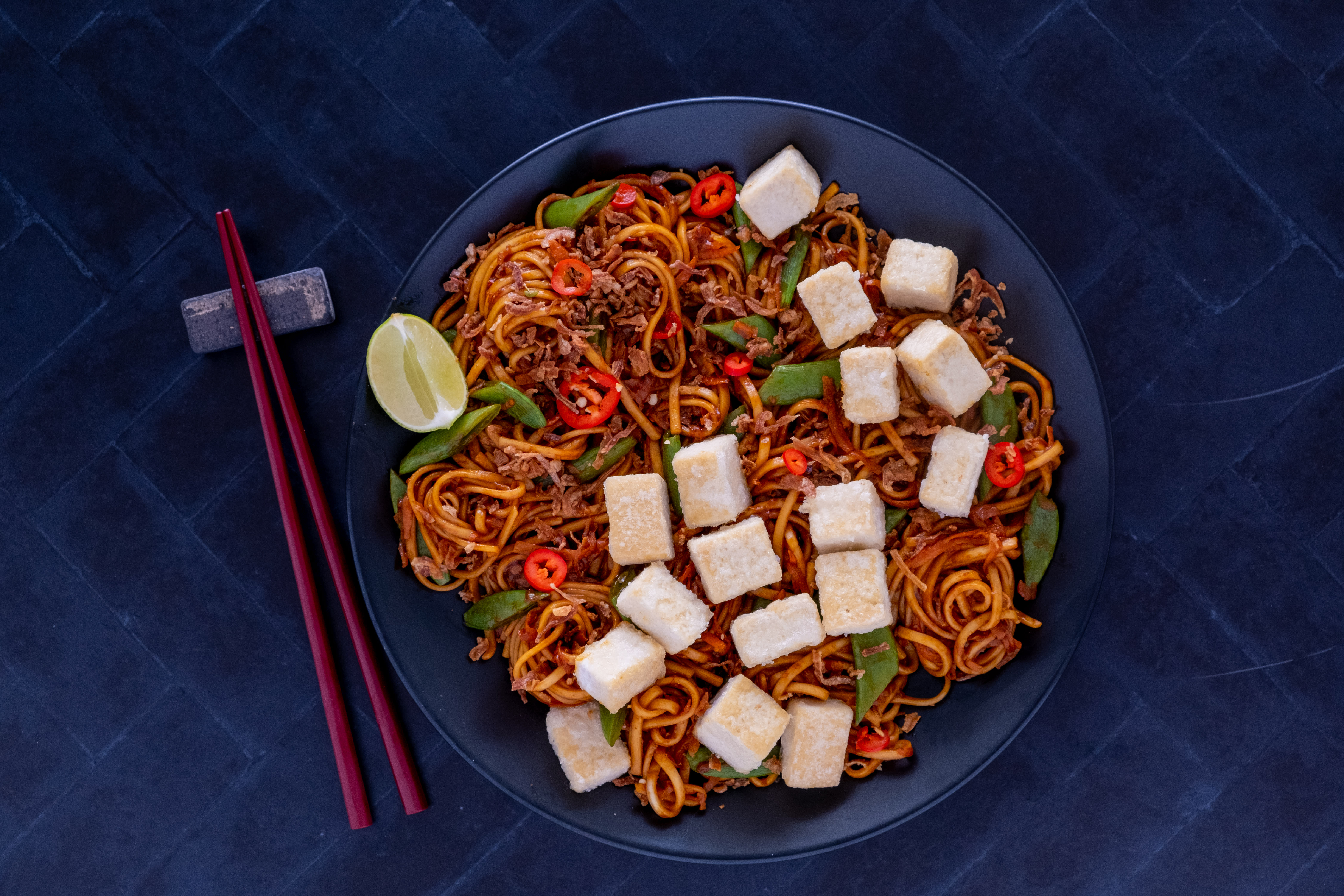 Crispy Tofu Noodles with Snap Peas and Beansprouts