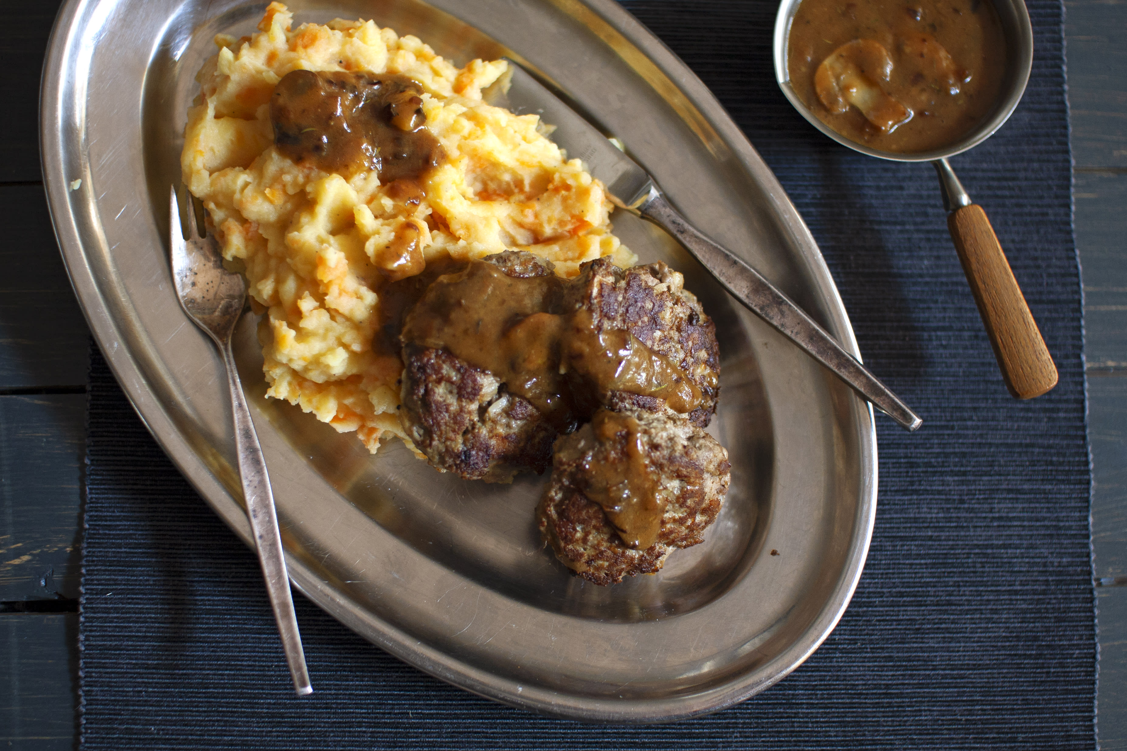 Beef Patties with Carrot and Potato Mash topped with Mushroom Gravy