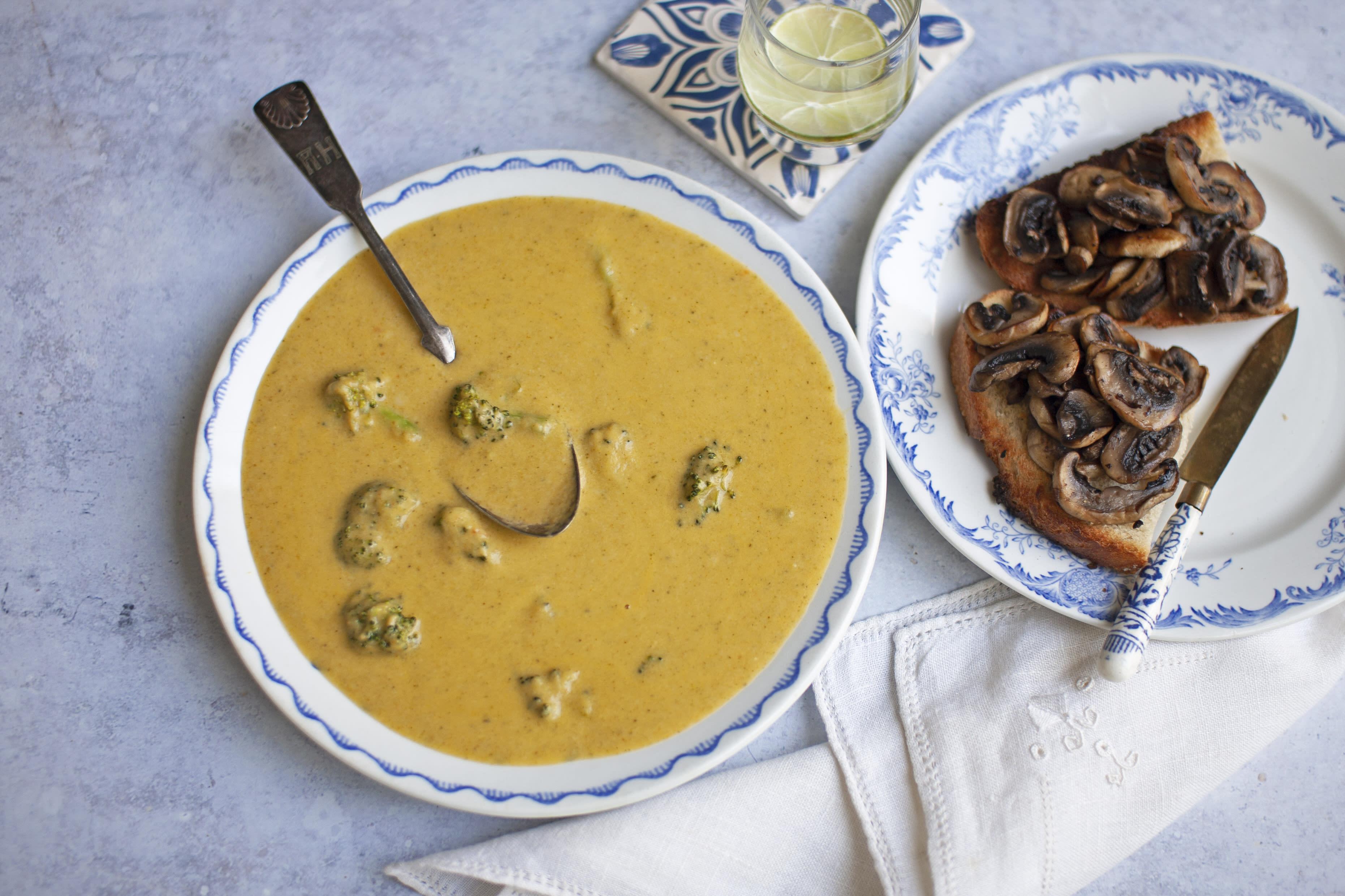 Broccoli and Cheddar Soup with Mushroom Crostini