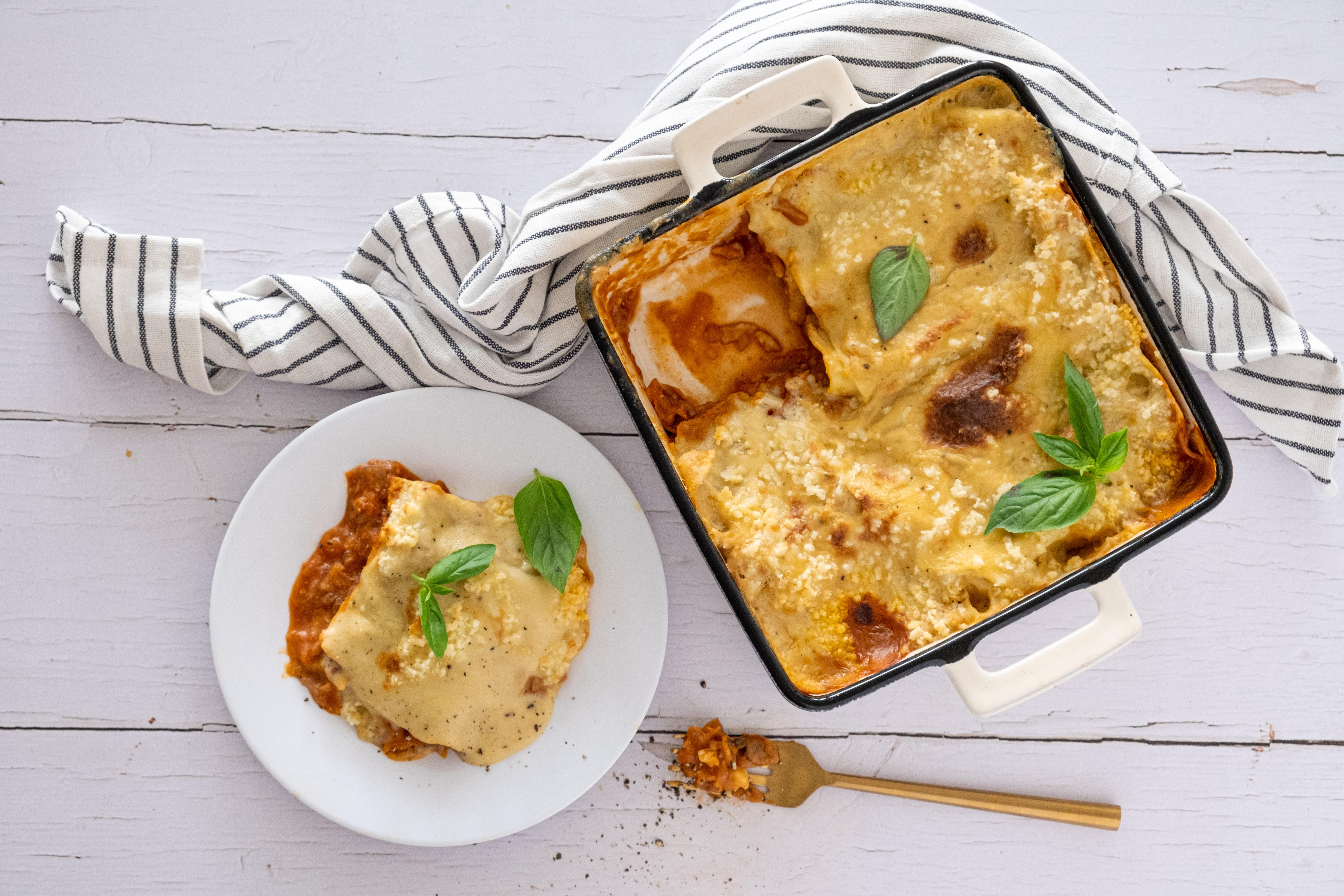 Vegan Lasagna with Mushrooms and Vegan Mozzarella