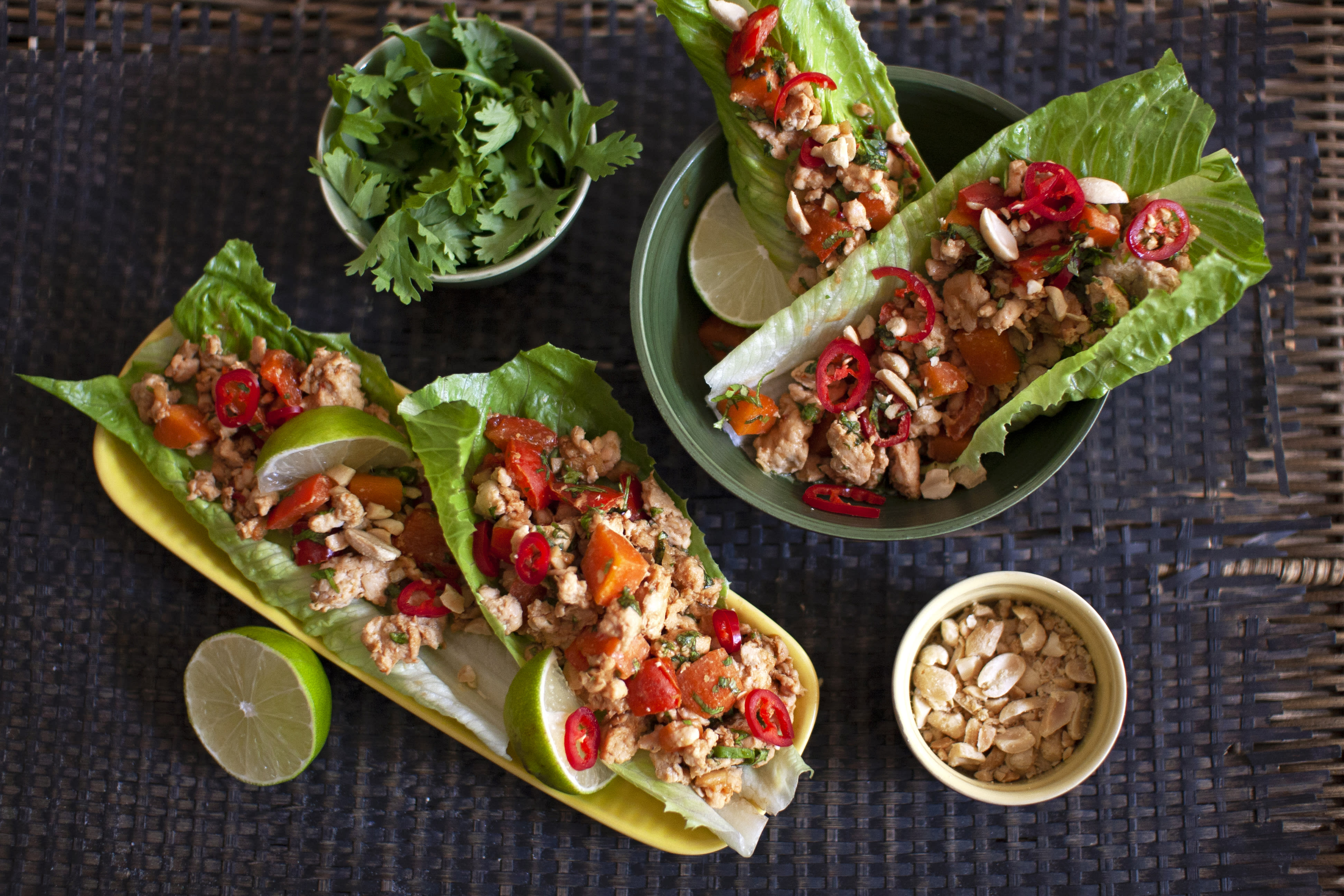 Spicy Chicken Lettuce Cups with Coriander