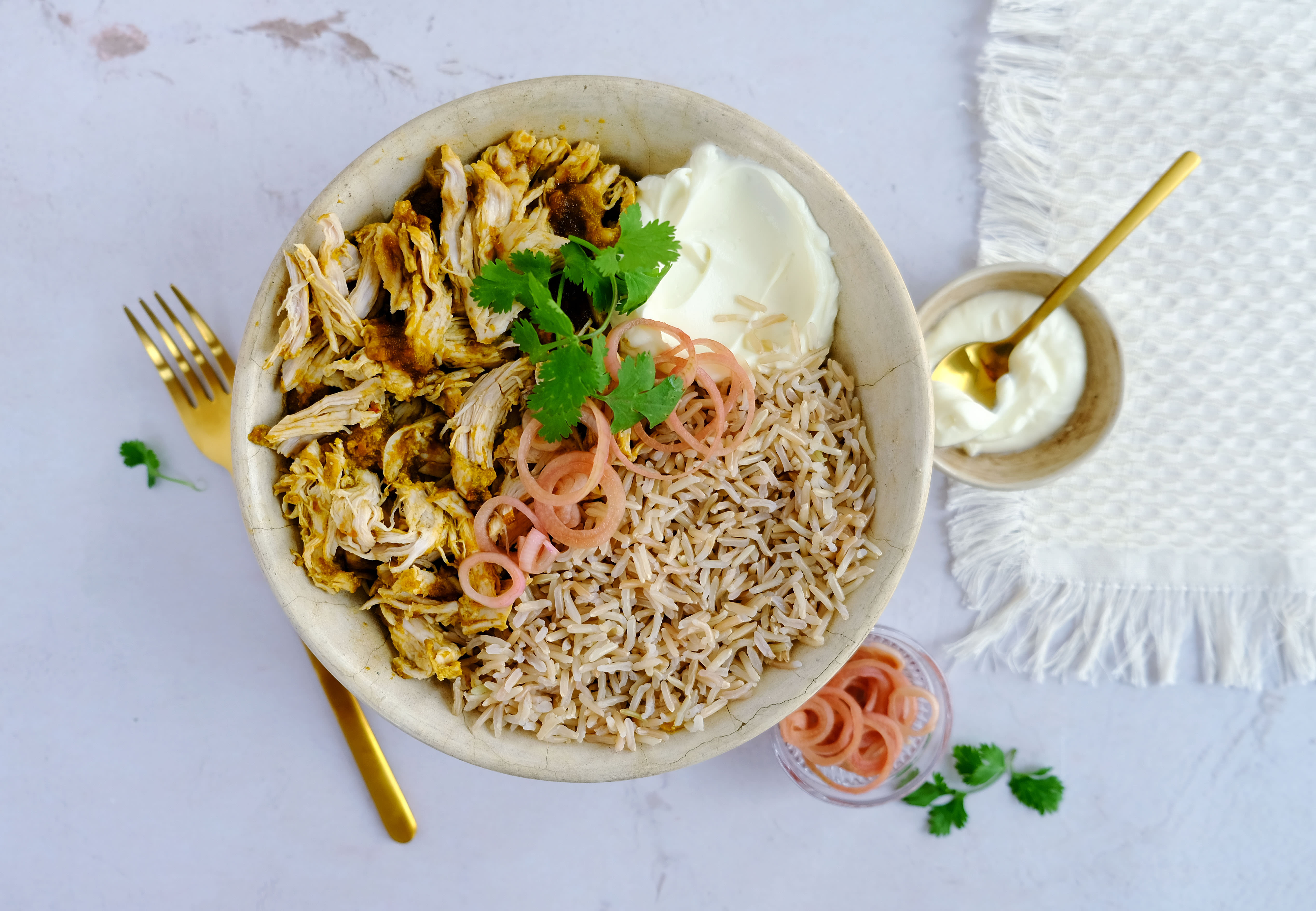 Mexican Coriander Chicken Bowl with Brown Rice