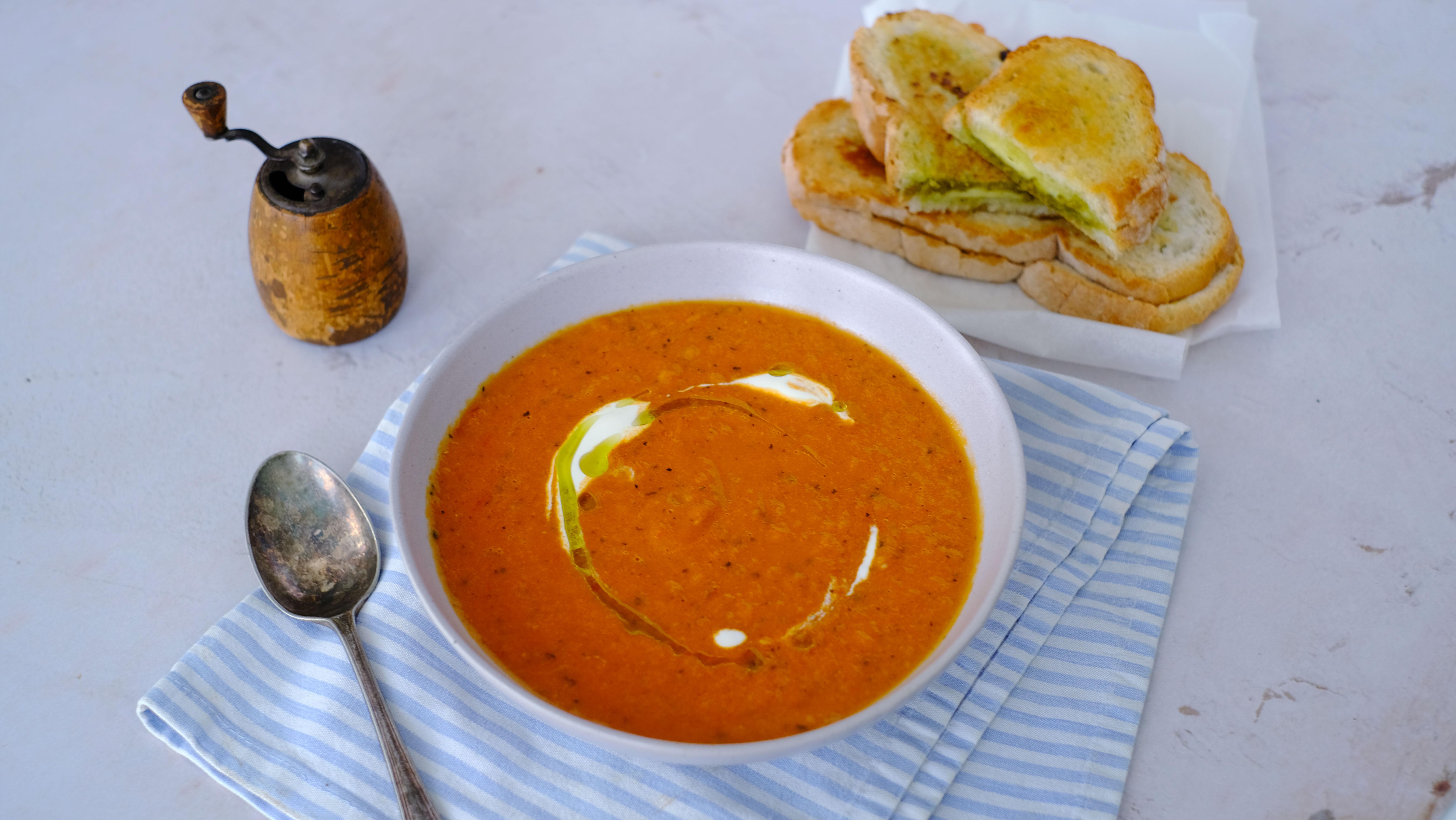 Hearty Tomato Soup with Cheesy Pesto Toasties