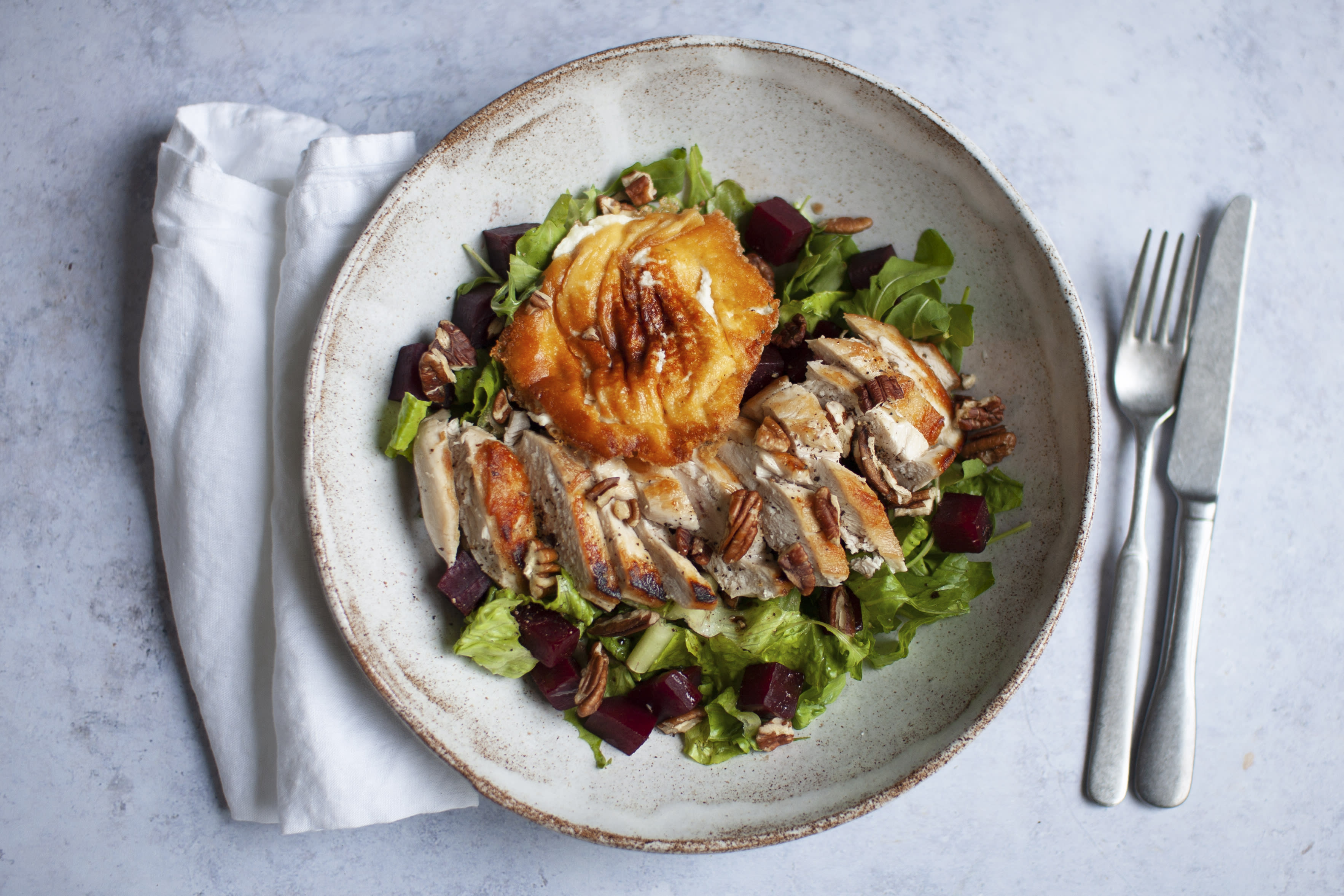 Maple Glazed Chicken Salad with Goat Cheese and Pecan Nuts