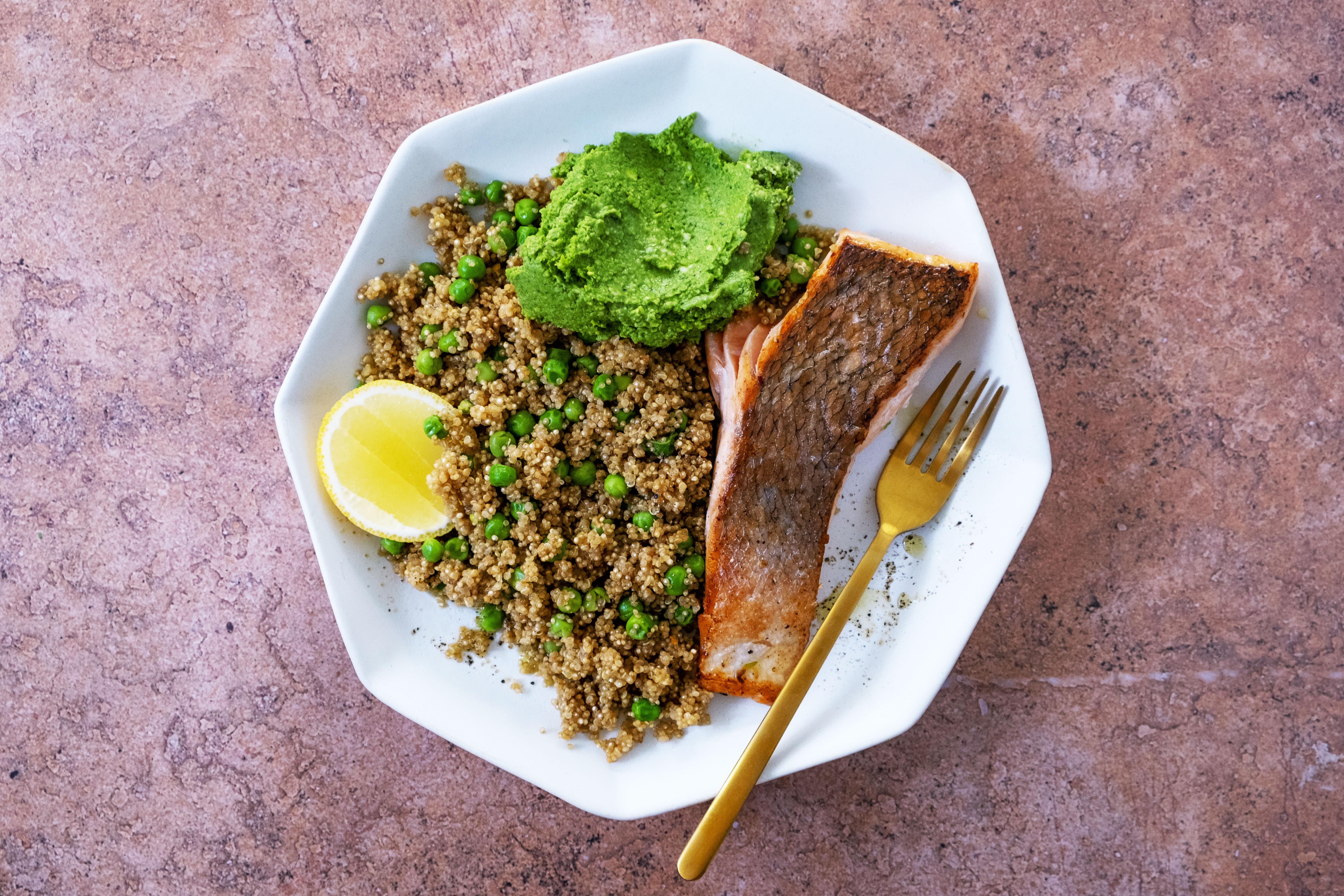 Pan Fried Salmon with Green Pea Quinoa and Basil Pesto