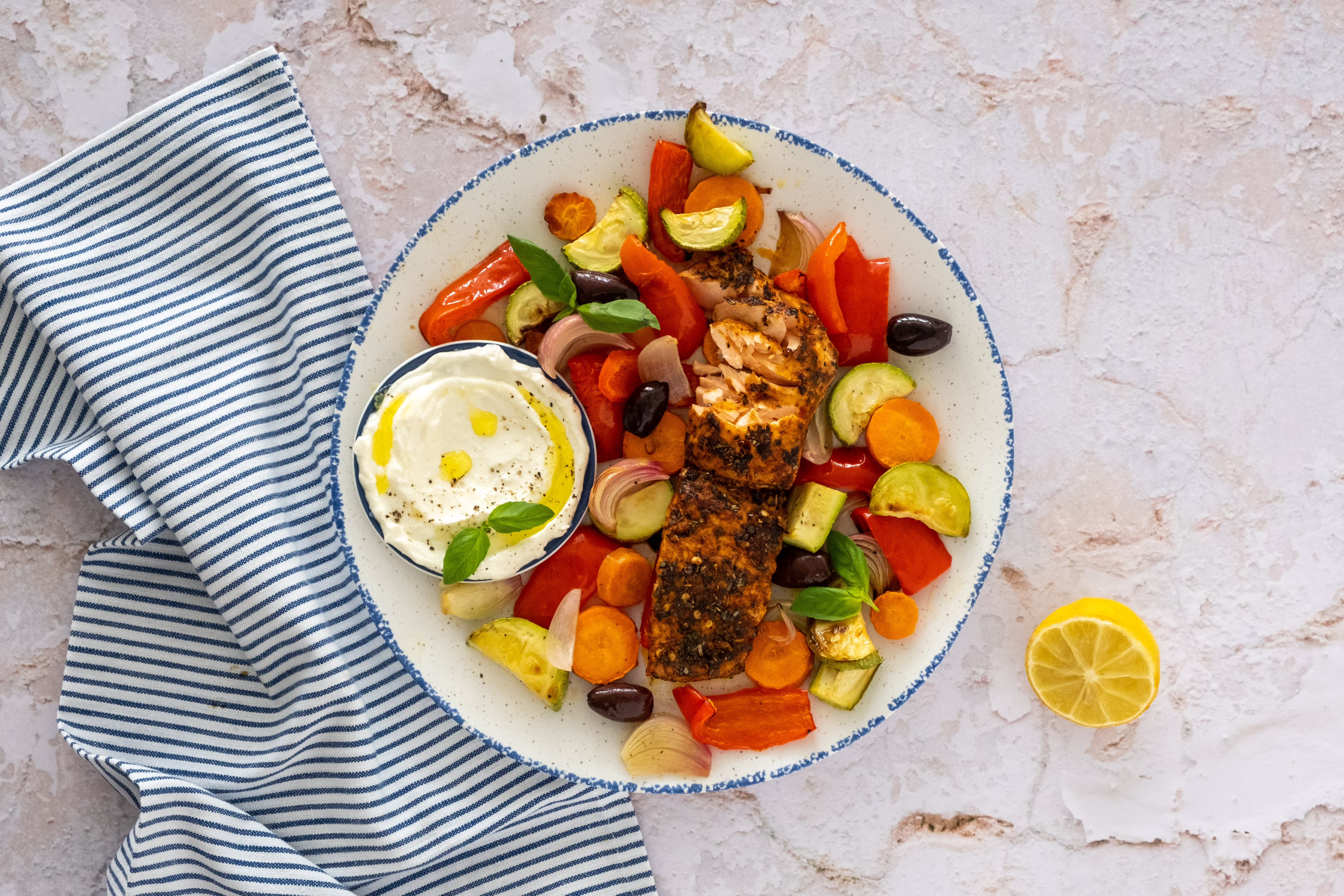Greek Salmon with Roasted Vegetables and Lemon Feta