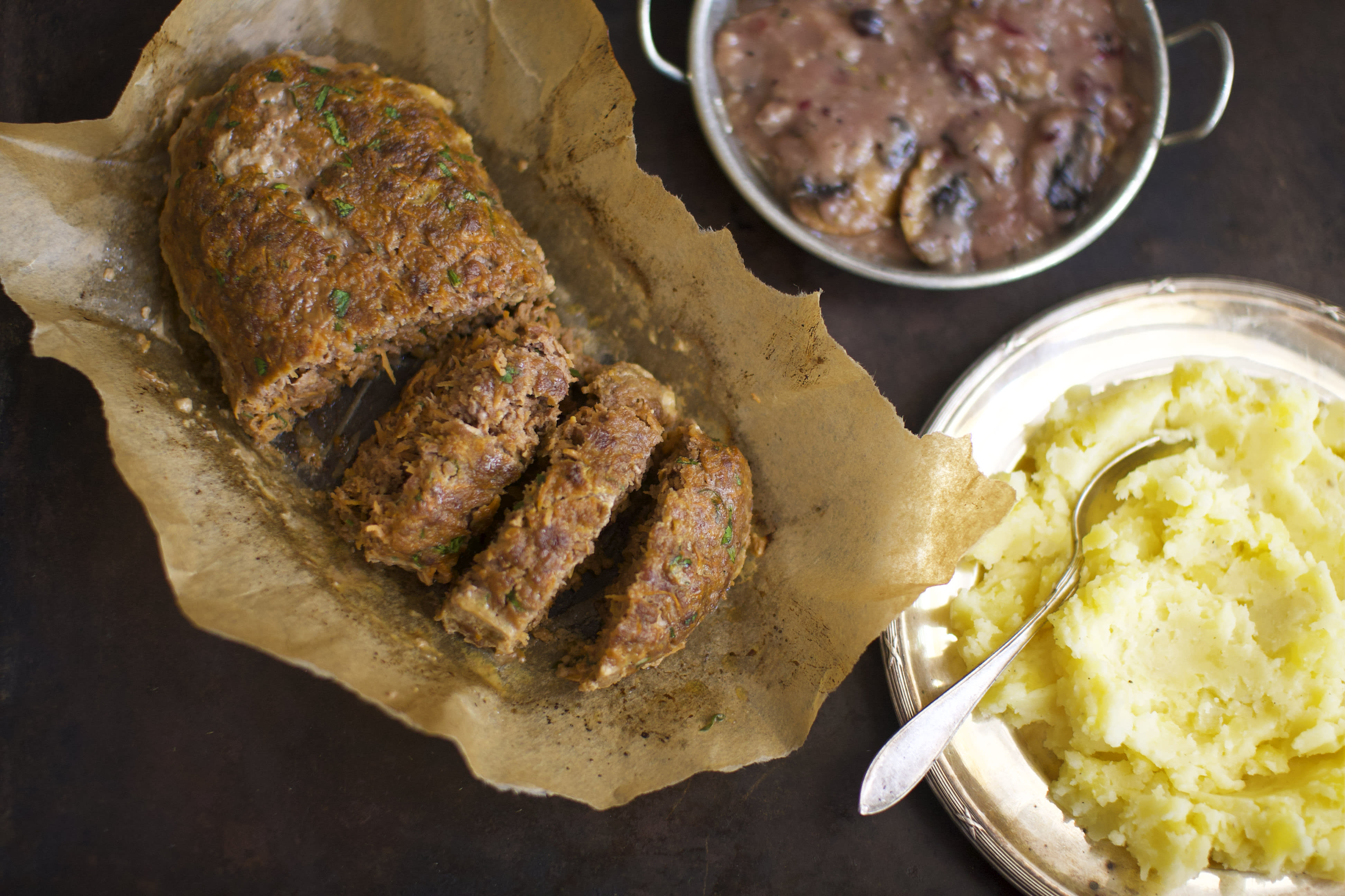 Rustic Meatloaf with Mash and Mushroom Gravy