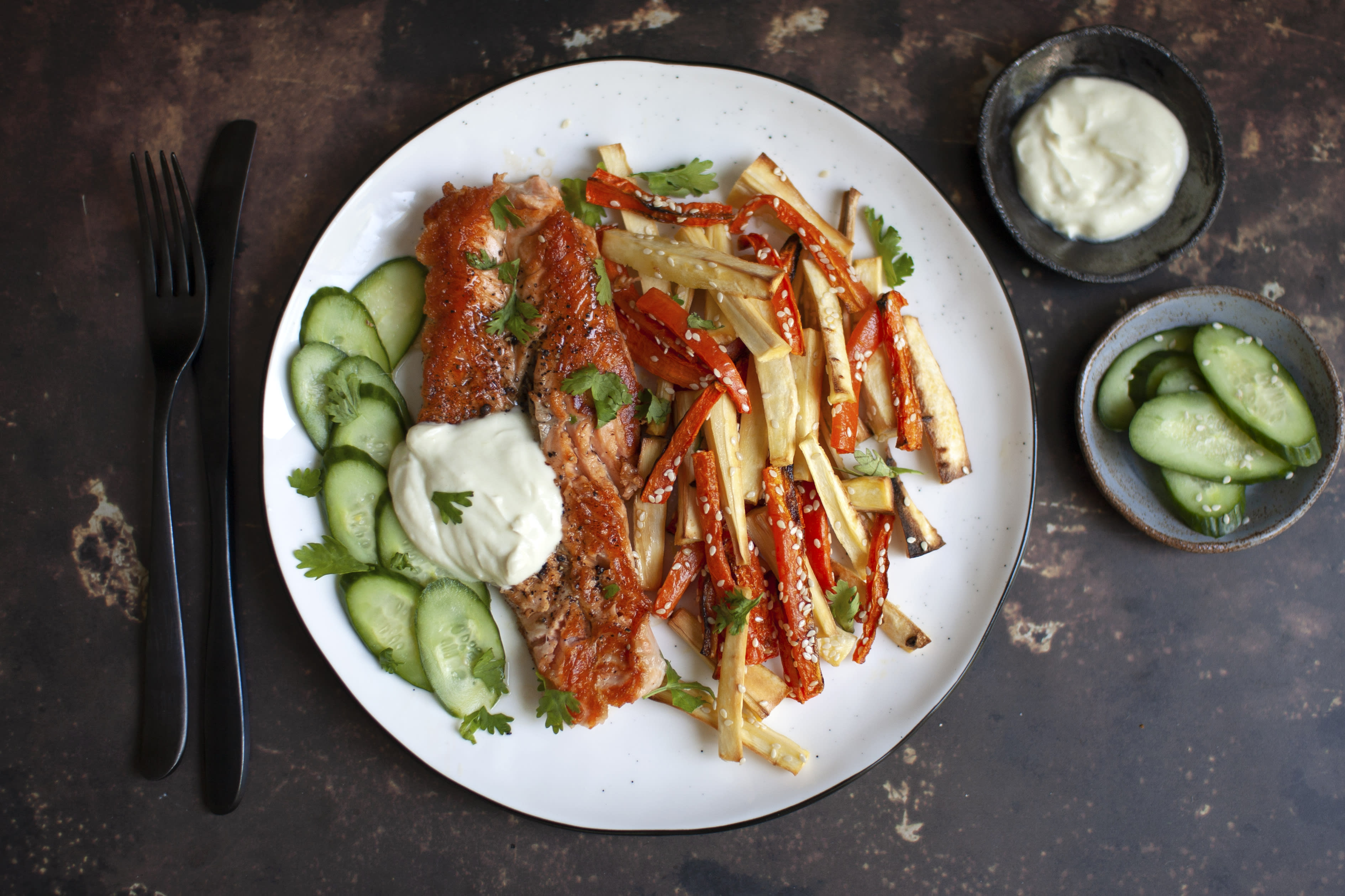 Crispy Salmon with Wasabi Cream and Sesame Vegetables