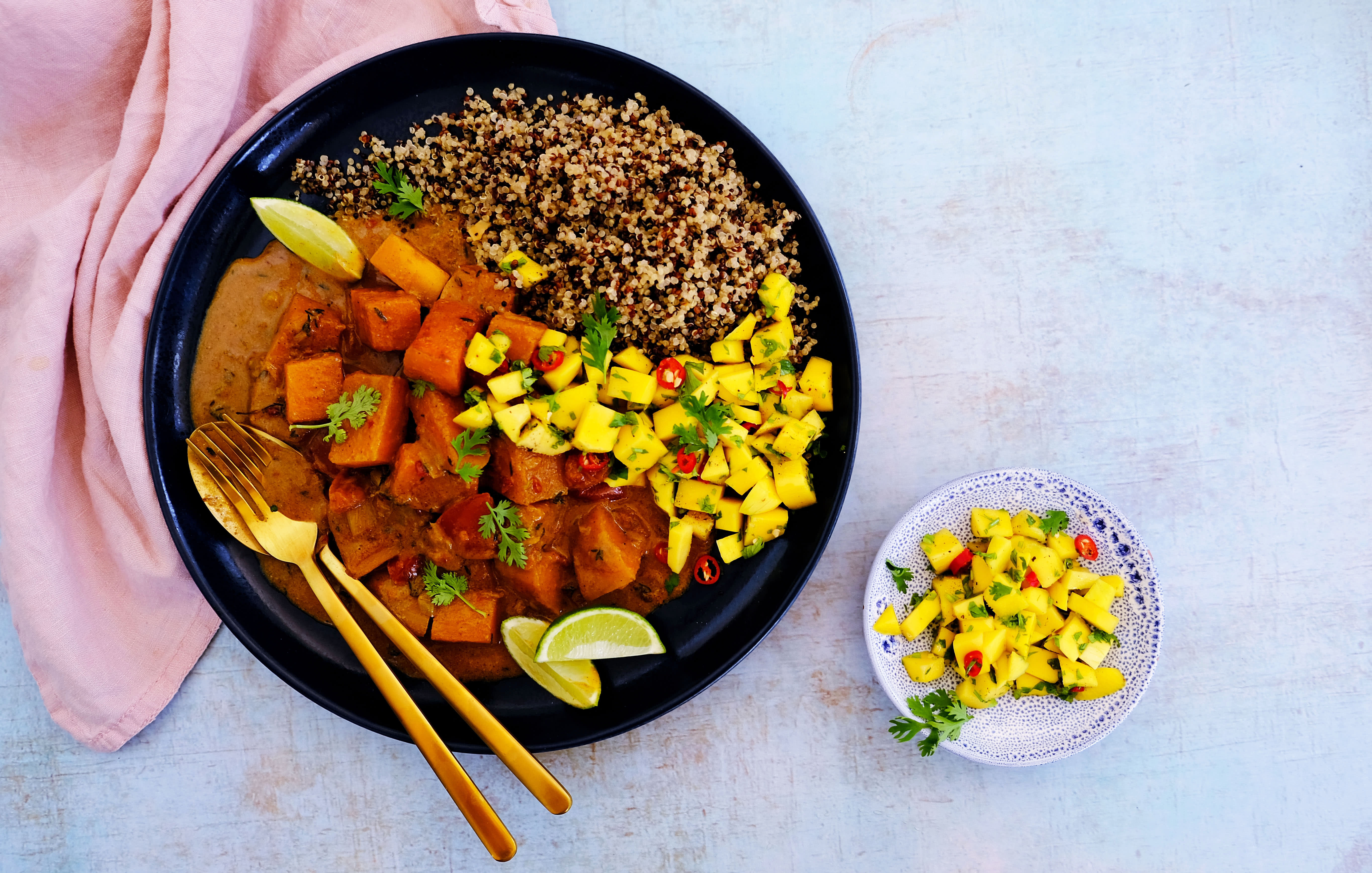 Jamaican Squash and Coconut Stew with Quinoa and Mango Salsa