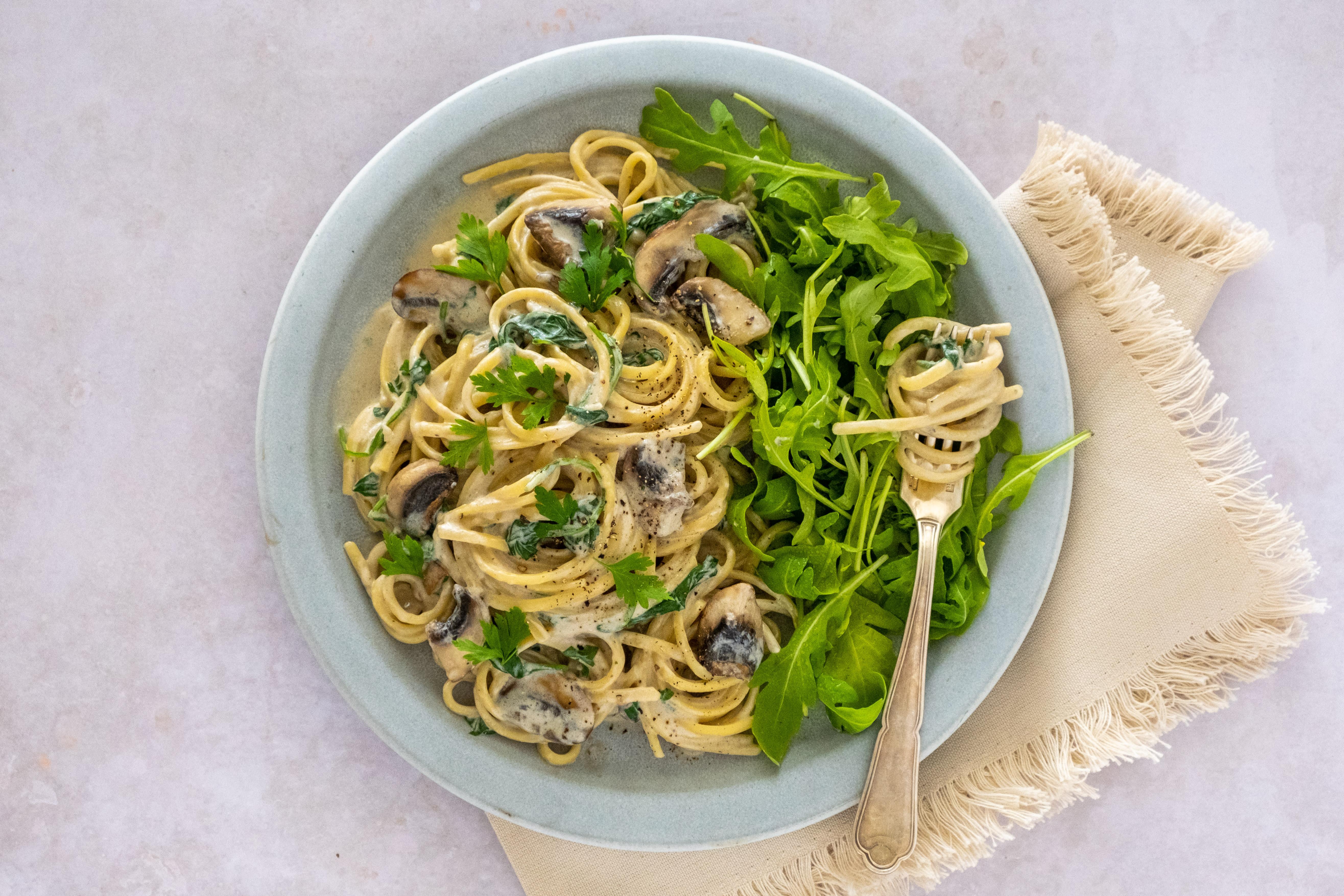 Truffle and Mushroom Linguine with Rocket Salad