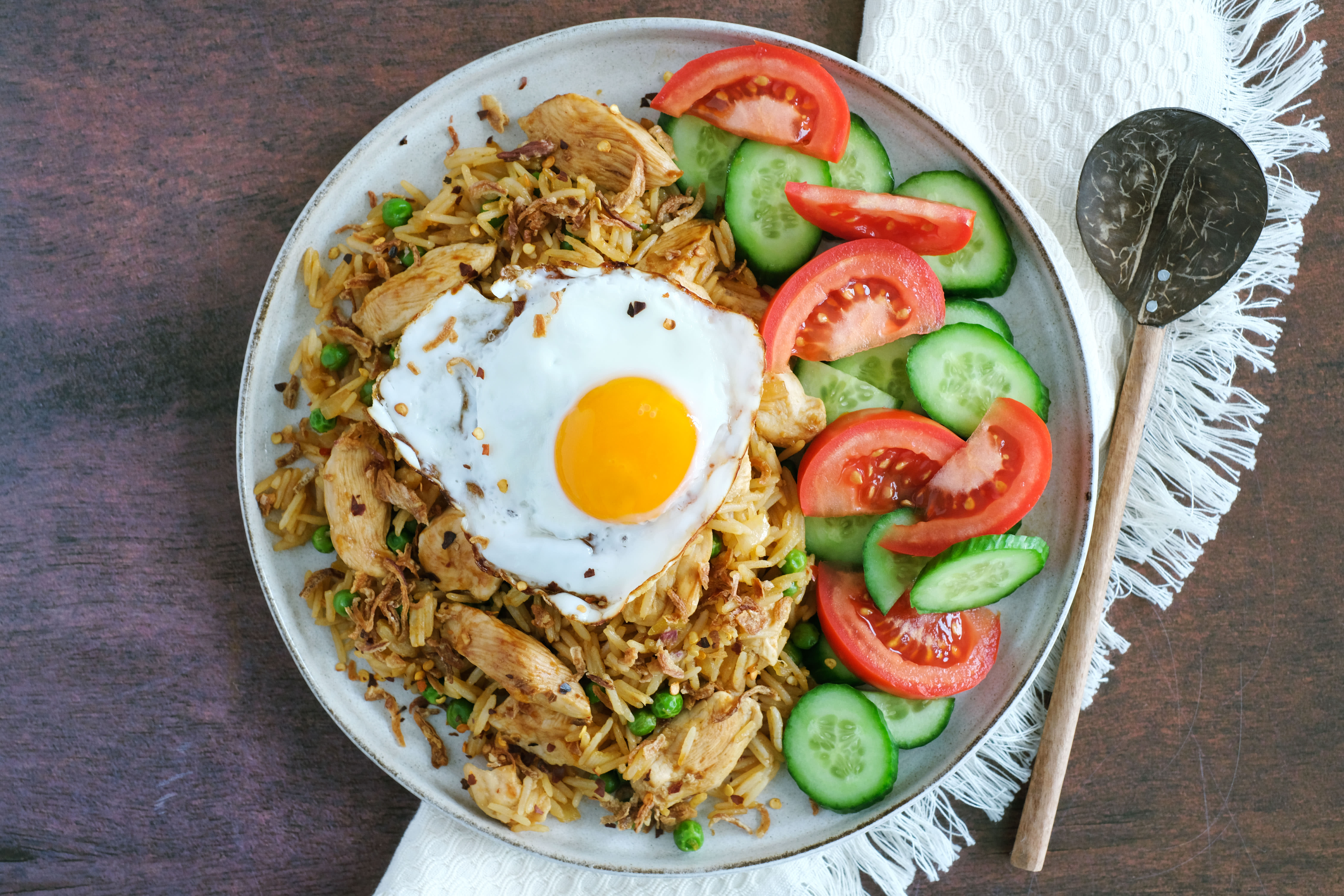 Nasi Goreng with Fried Egg and Traditional Salad