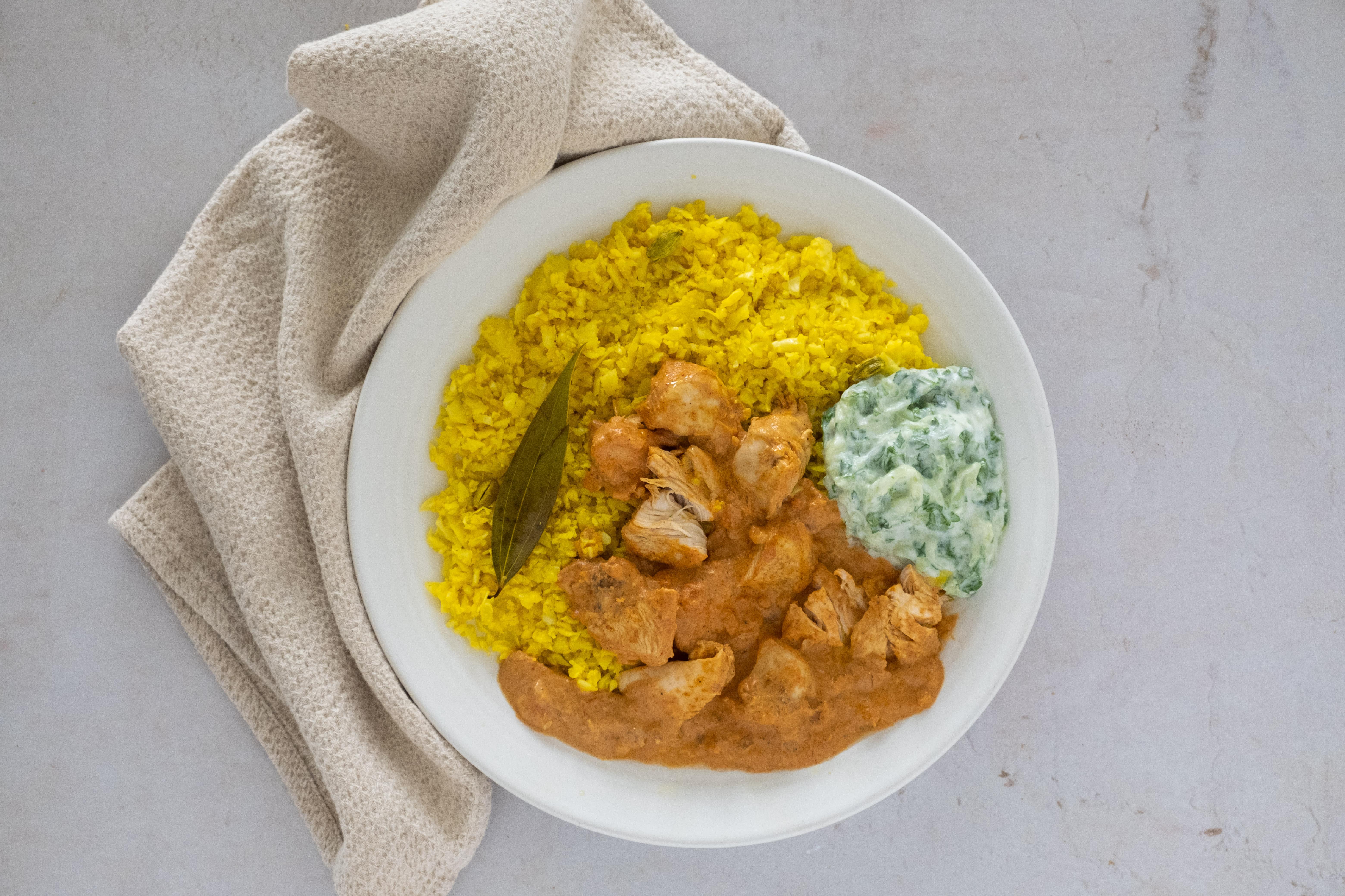 Indian Spiced Chicken Curry with Pilau Cauliflower Rice and Raita