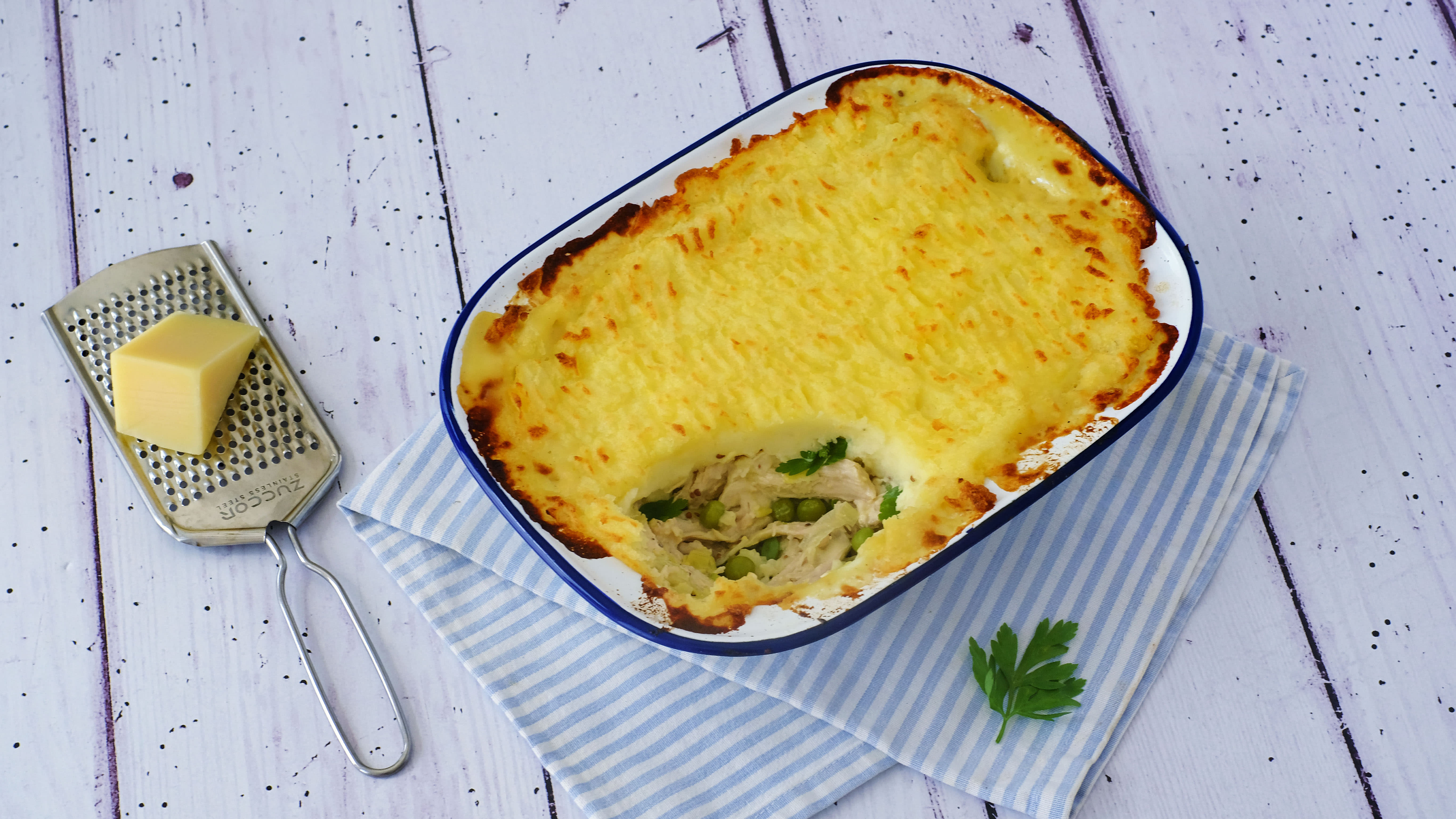 Creamy Chicken and Leek Pie with Peas and Parmesan