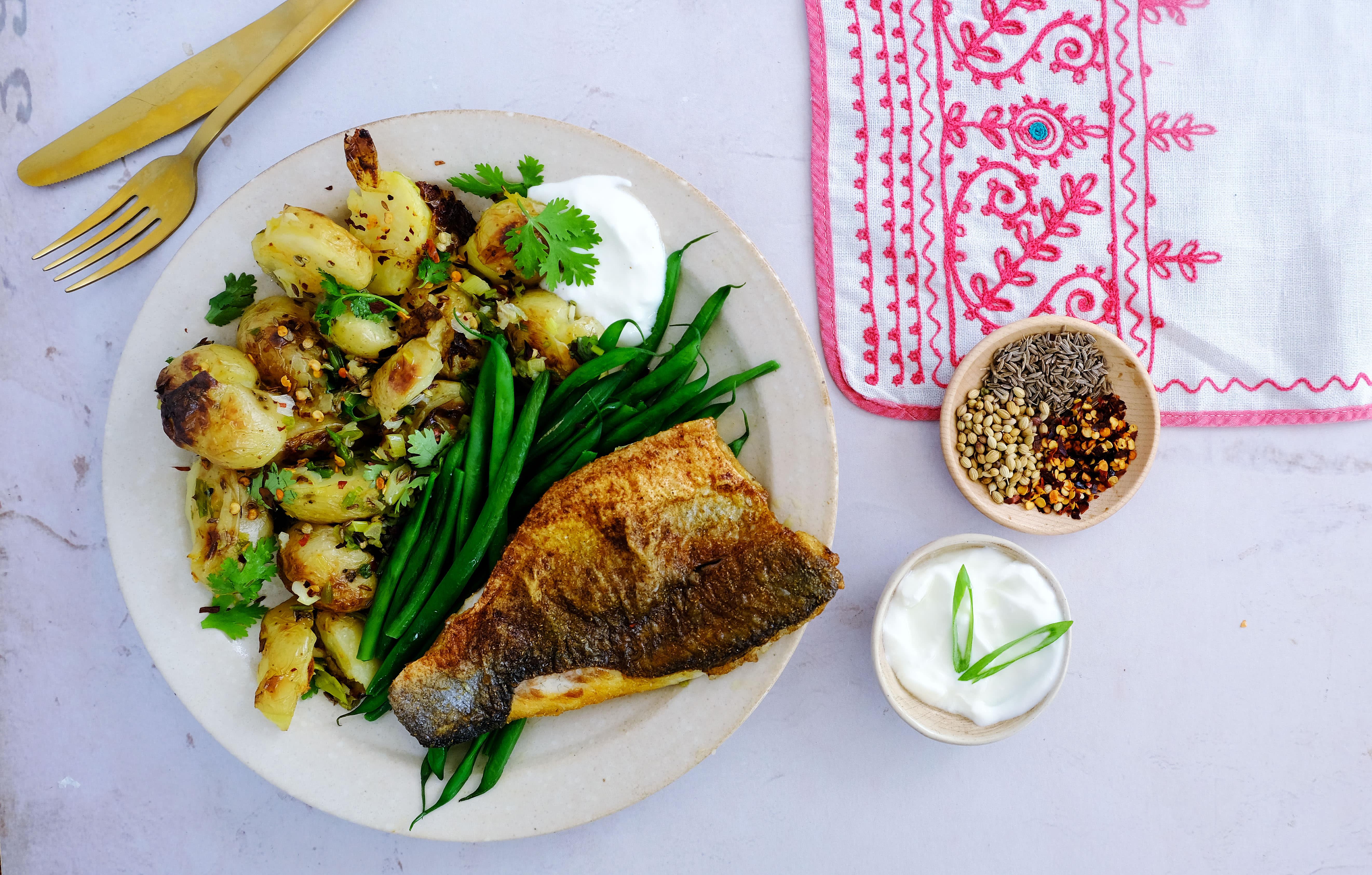 Indian Sea Bass with Gunpowder Potatoes and Green Beans