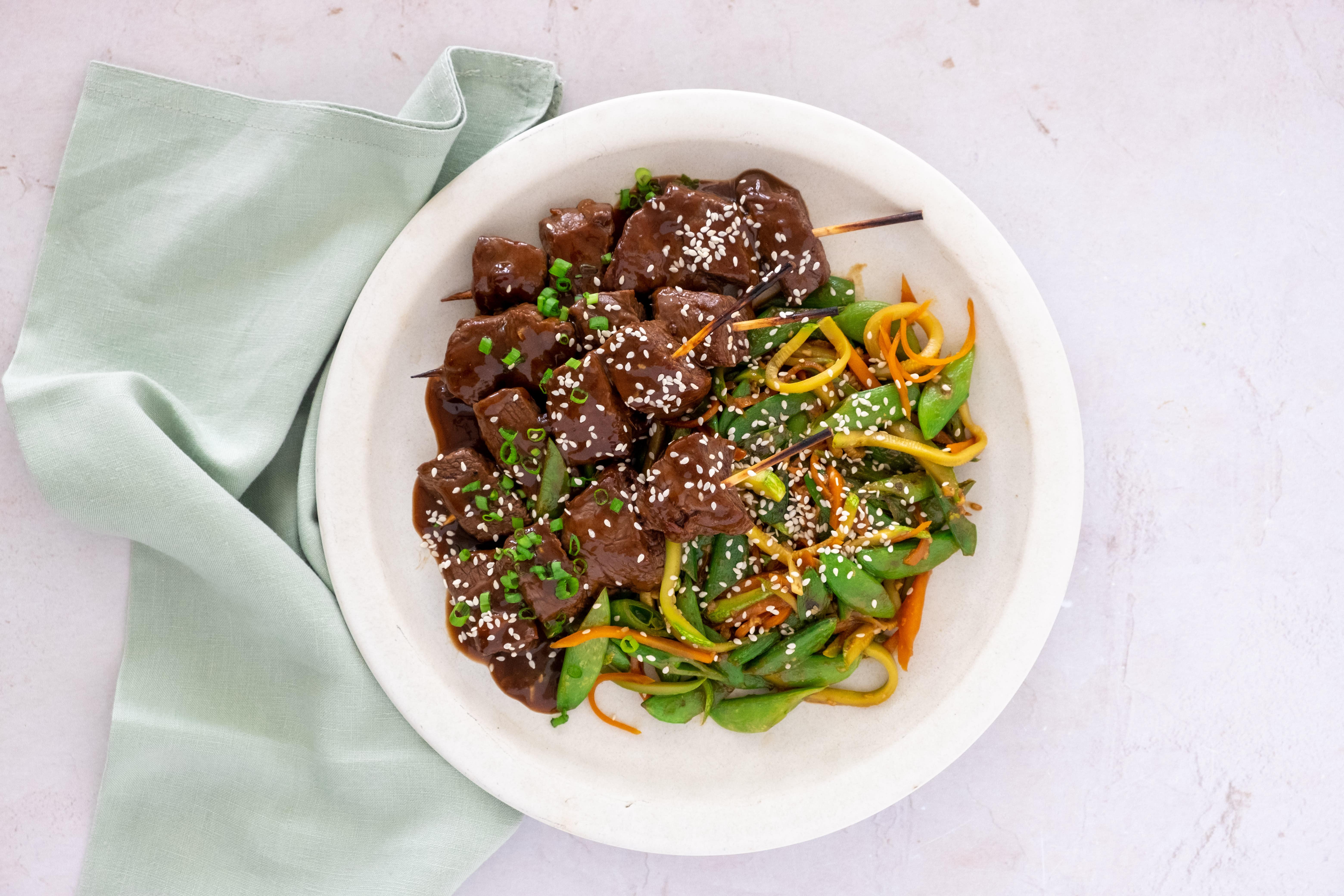 Smoky Teriyaki Steak Skewers with Vegetable Stir-fry