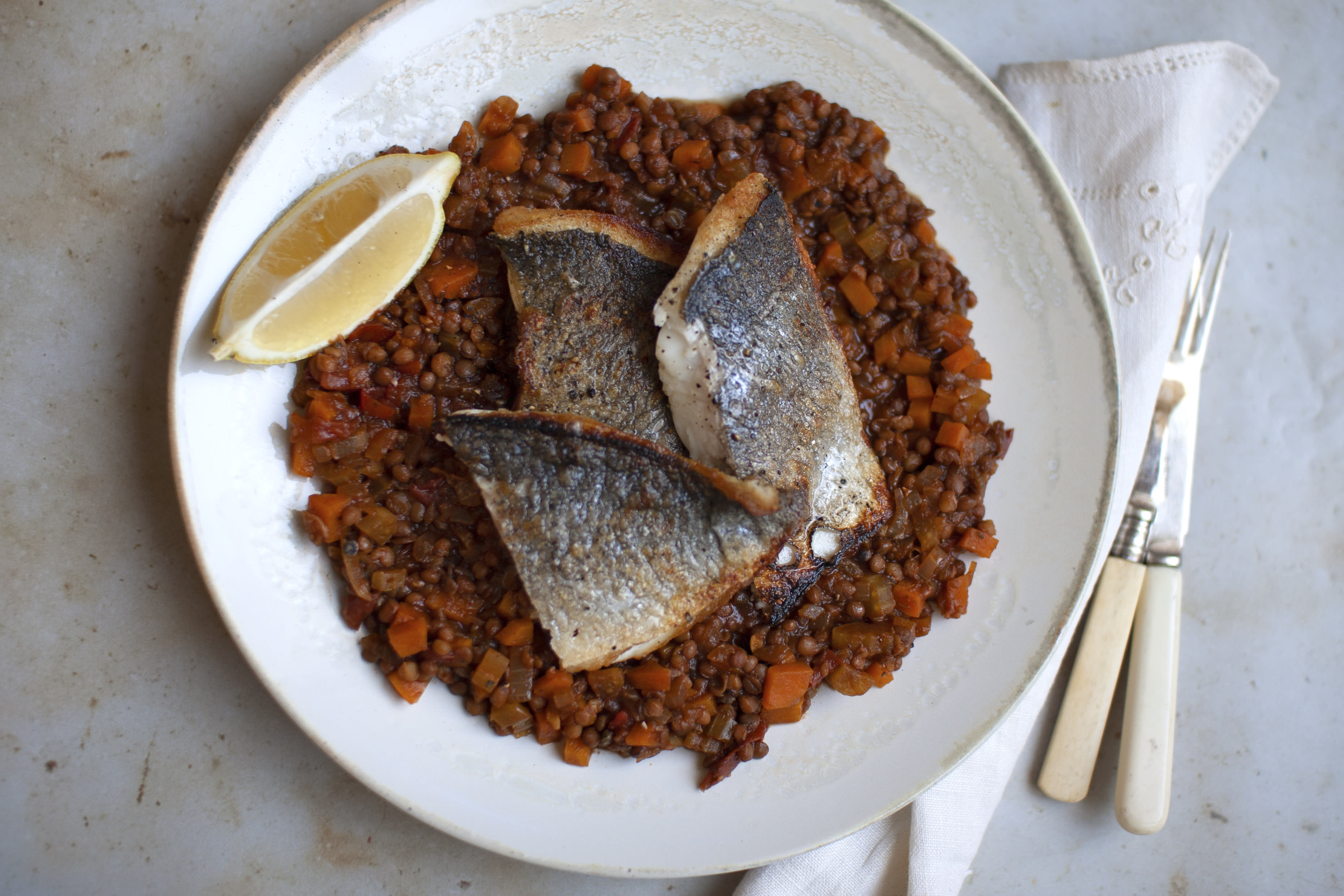 Seared Sea Bass with Savoury Lentils