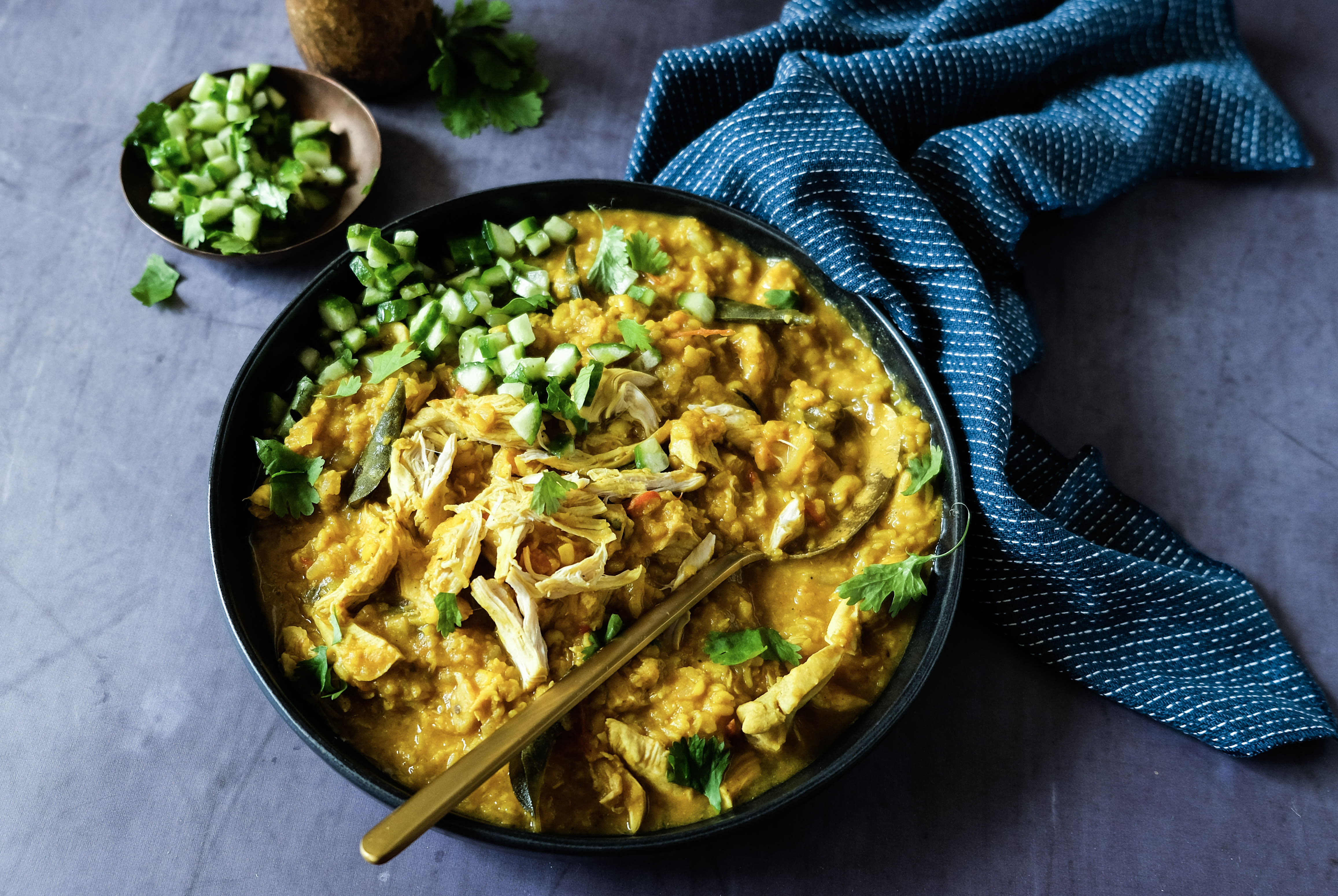 Chicken Dal with Quick-Pickled Cucumber