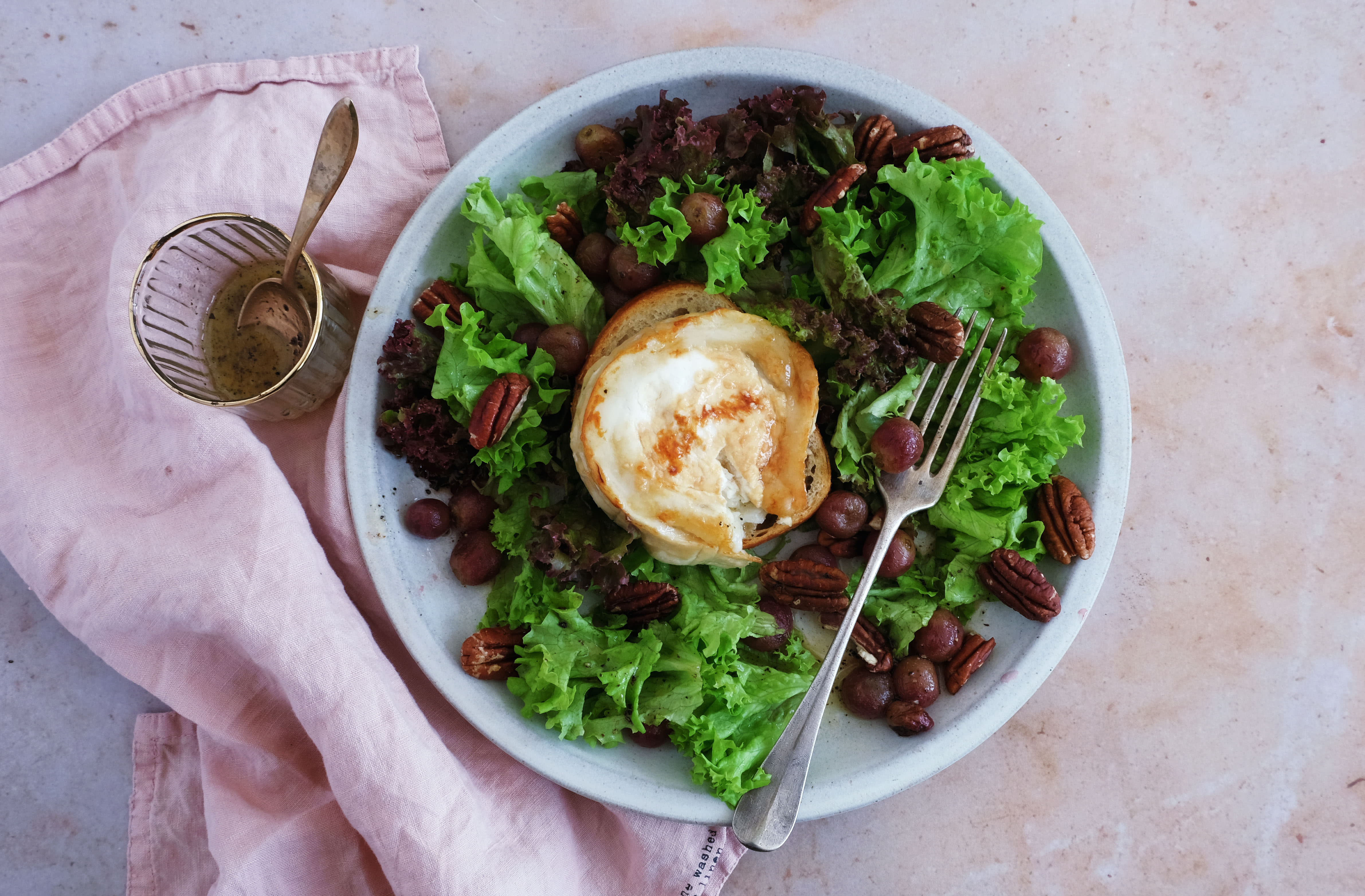 Hot Goat Cheese and Grape Salad with Pecan Nuts